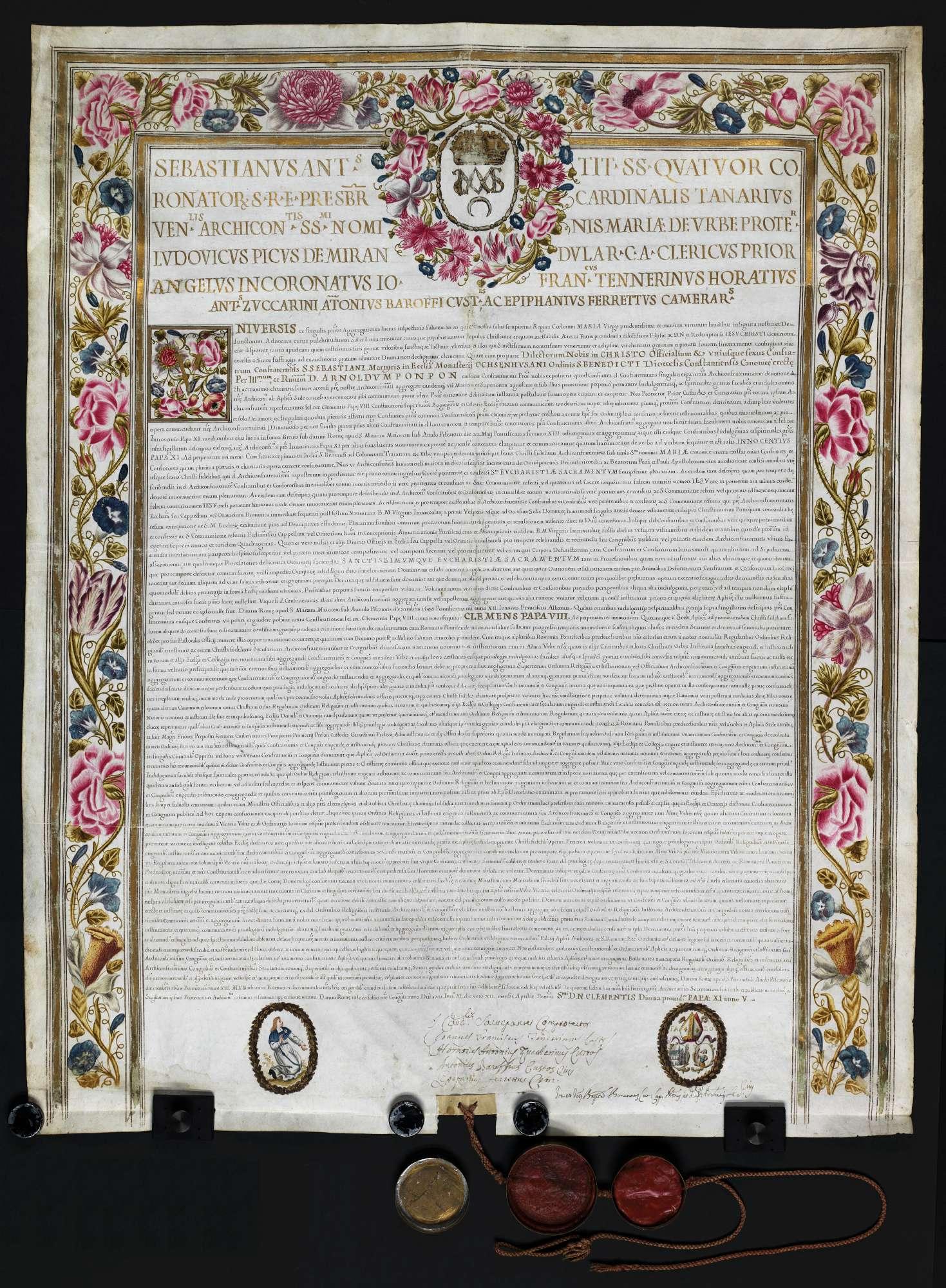 Ablass für die Sebastiansbruderschaft in Ochsenhausen mit inserierten Urkunden der Päpste Clemens VIII. (1592-1605) von 1604 Dez. 7 und Innocenz XI. (1676-1689) von 1688 Sept. 7, Bild 1