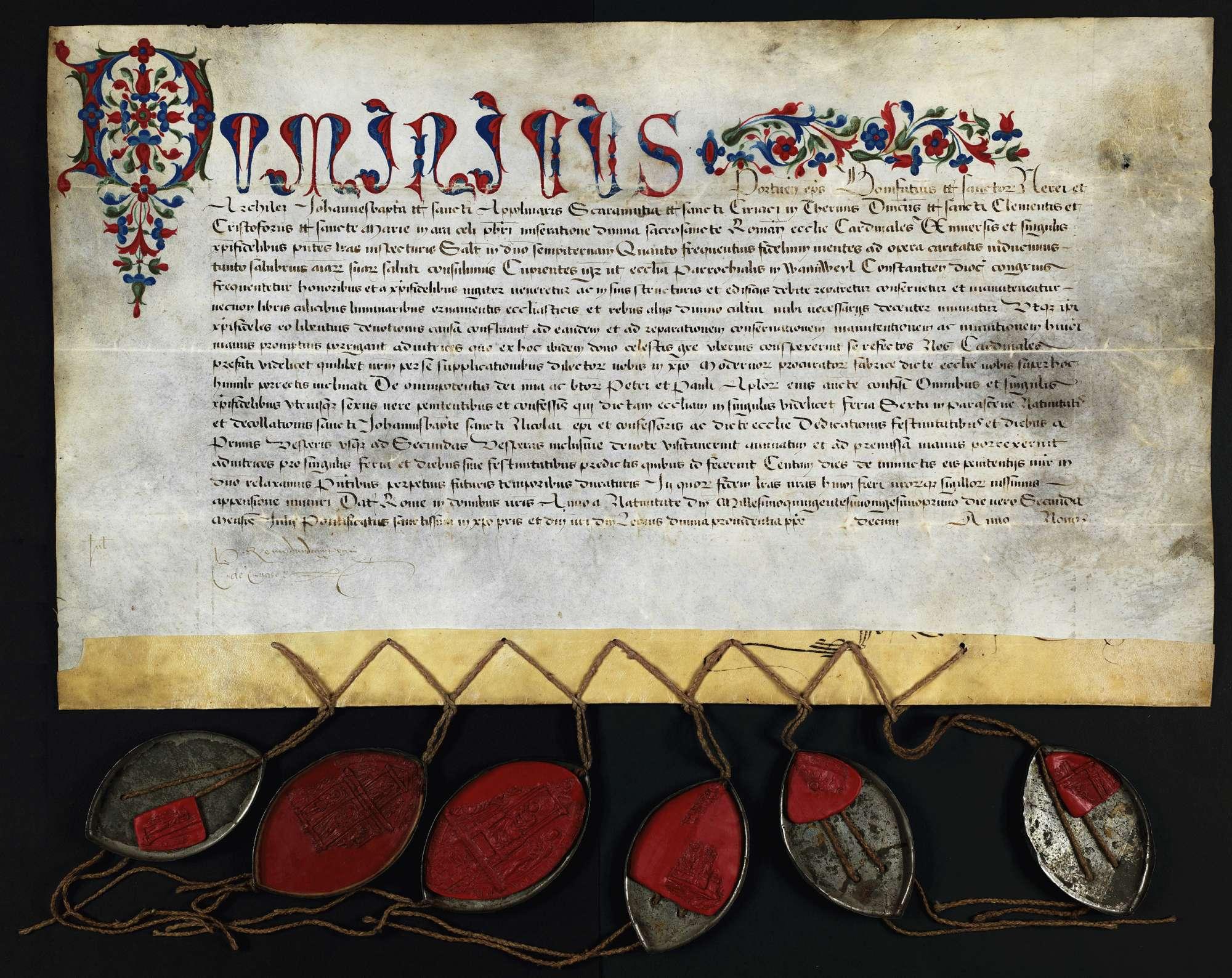 Dominicus, Bischof von Porto und 5 andere Kardinalpriester erteilen der Pfarrkirche in Wannweil zu Ausbau, Ausbesserung und Ausschmückung einen Ablass von 100 Tagen., Bild 1
