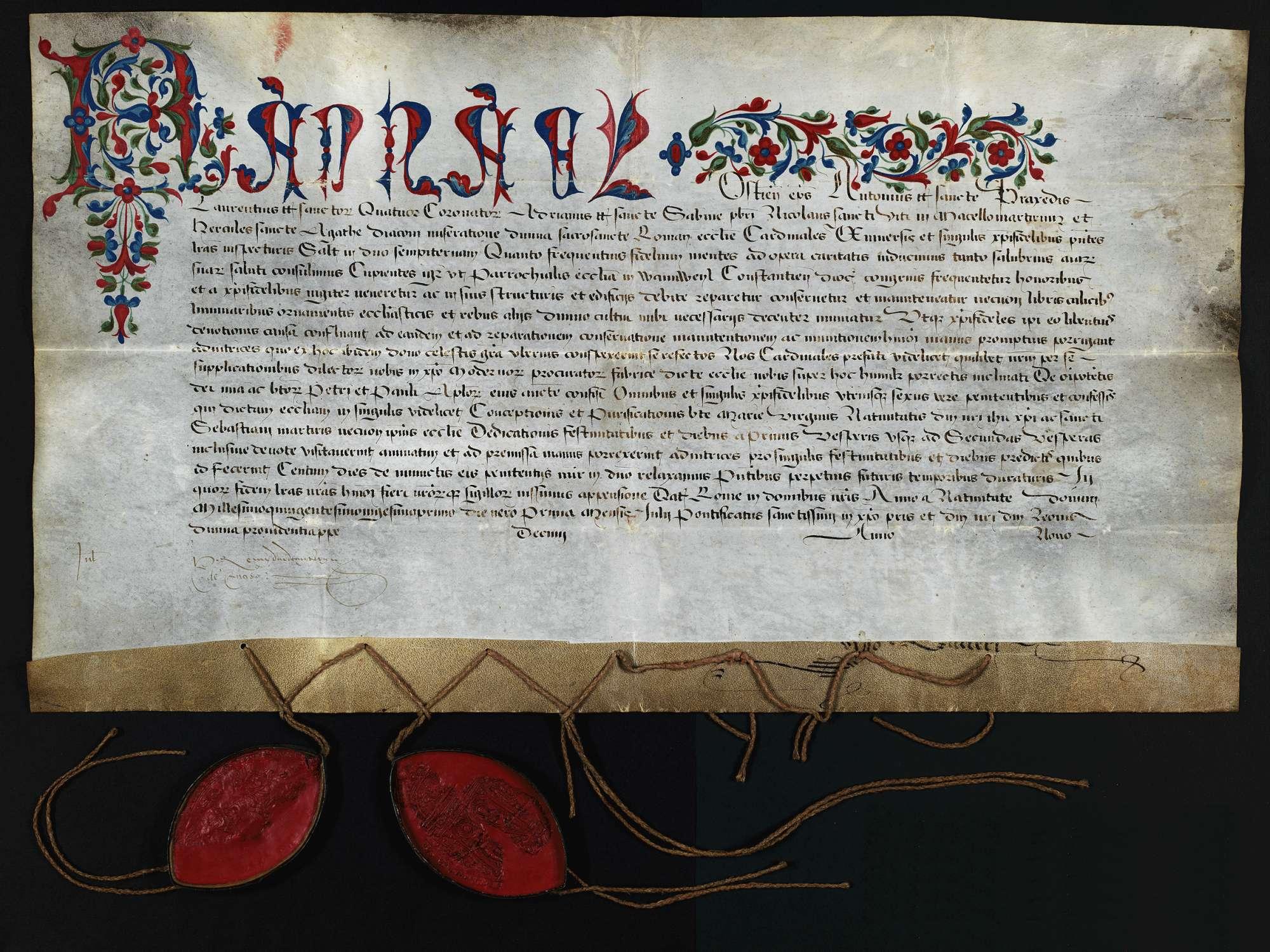 Bischof Raphael von Ostia und 5 weitere Kardinäle erteilen der Pfarrkirche in Wannweil zu Ausbau, Ausbesserung und Ausschmückung einen Ablass von 100 Tagen., Bild 1