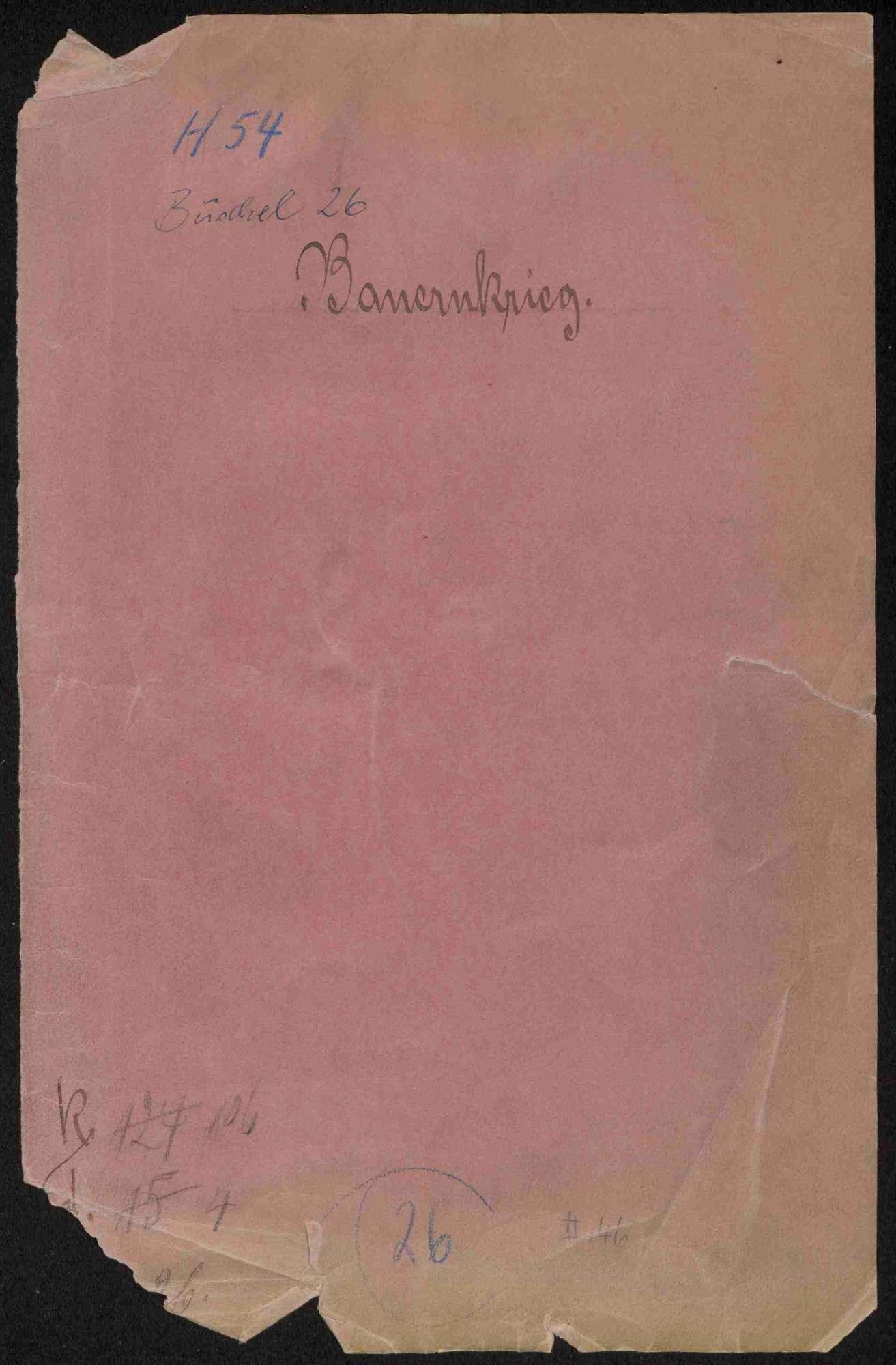Schriften zu Vorgängen während des Bauernkrieges, u.a. Bauernkorrespondenz, Bild 1