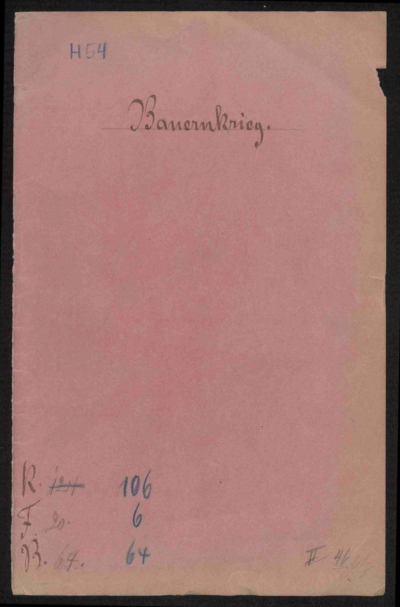 Fünf Schreiben an Junker Wolf von Vellberg wegen der Bedrohung durch die Bauern und Vellbergs Übertritt zu den Aufrührern, Bild 1