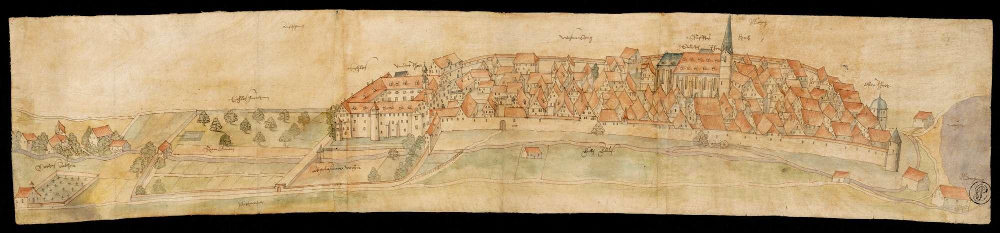 Ansicht von Schloss, Stift und Stadt Wiesensteig, Bild 1