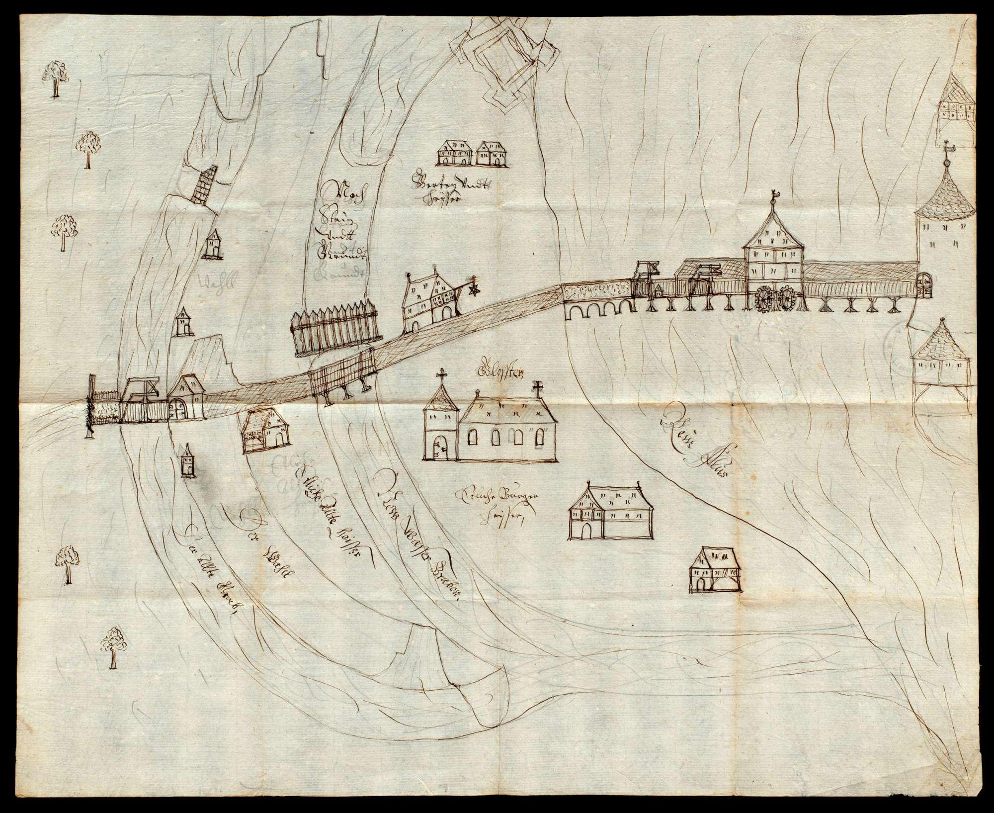 Schematische Ansichten von Petershausen mit der Rheinbrücke, Bild 1