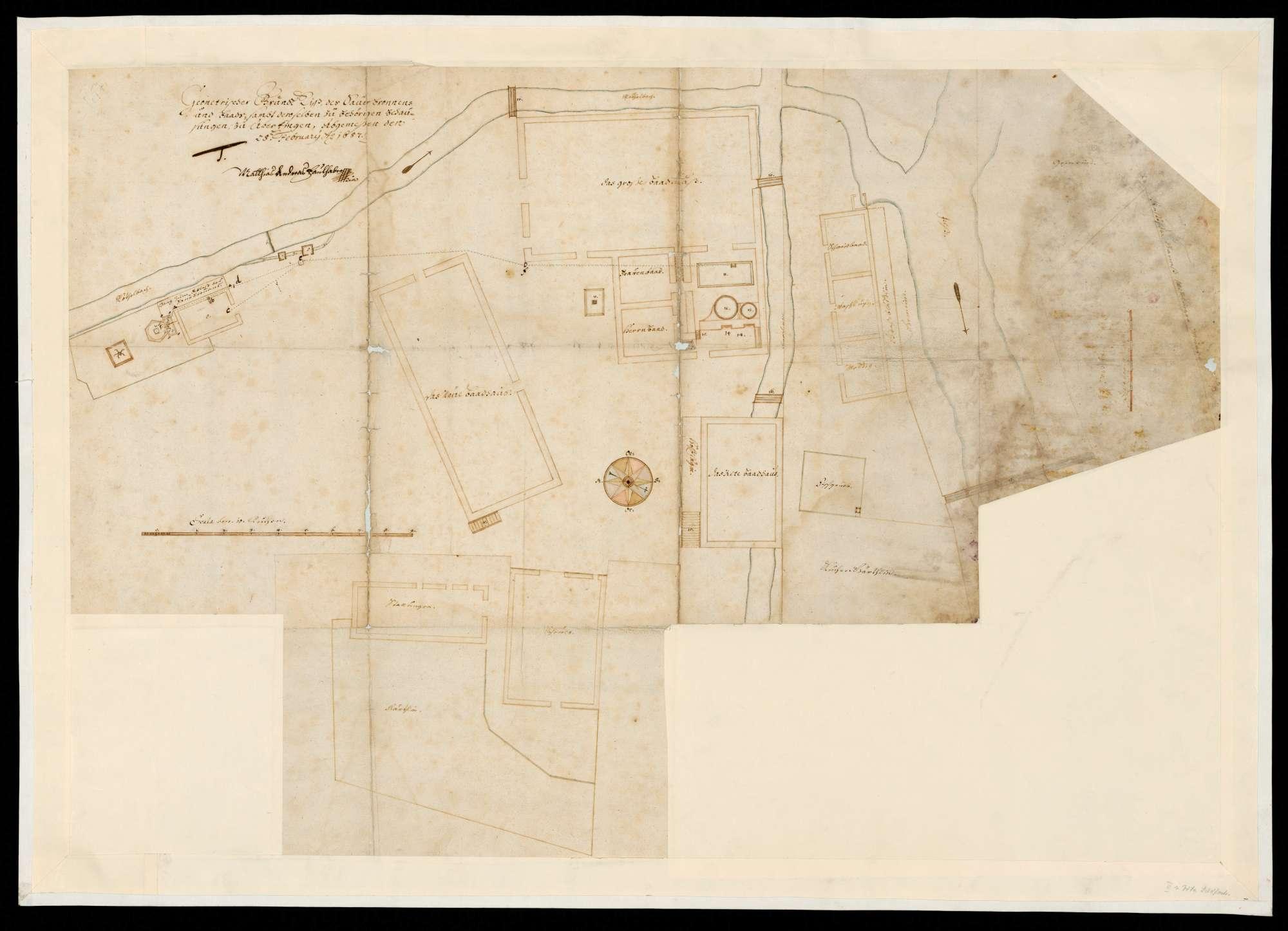 Geometrischer Grundriss des Sauerbrunnens und Bads samt zugehöriger Behausungen zu Überkingen (Herrschaft zu Ulm), Bild 1