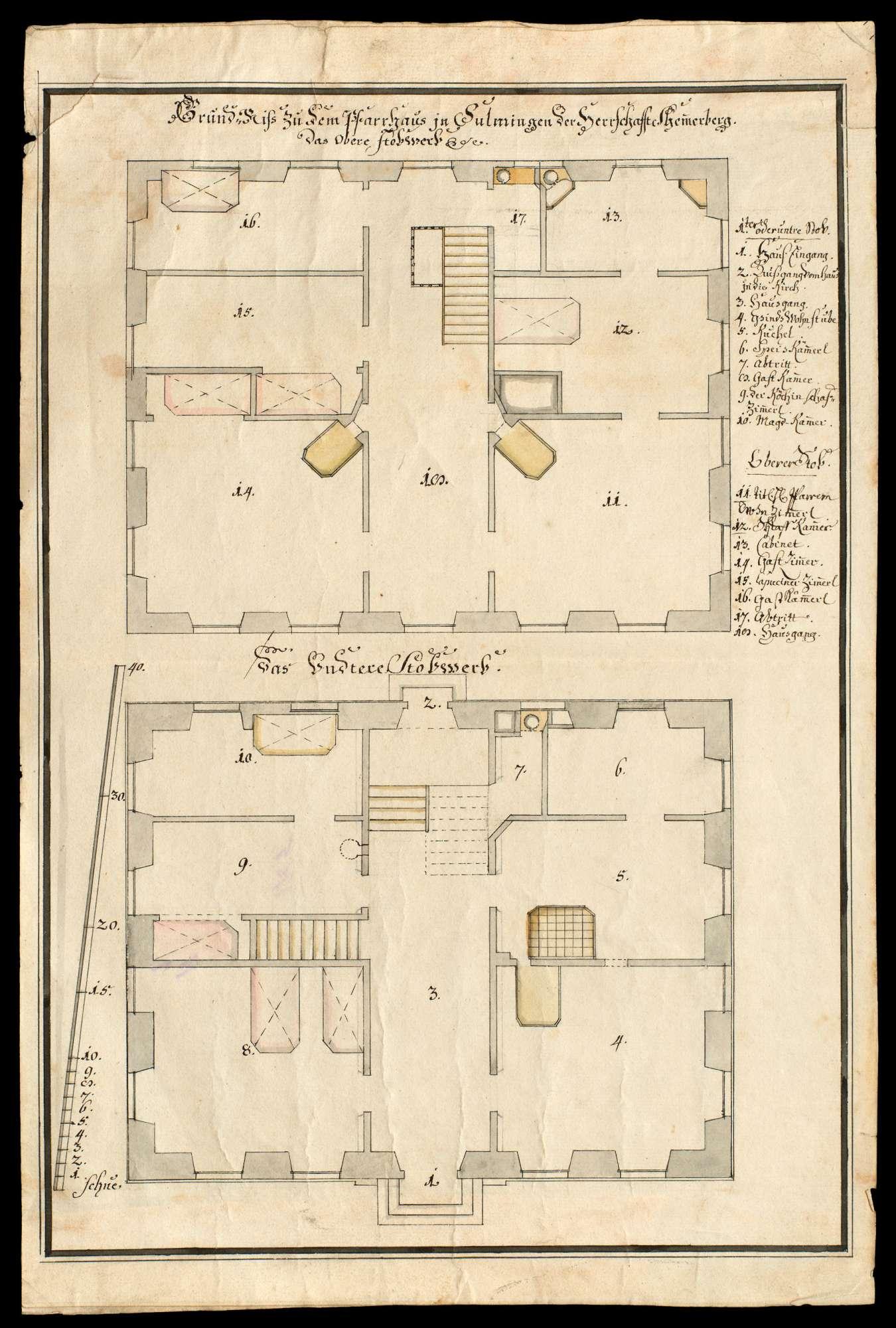 Grundriss zu dem Pfarrhaus in Sulmingen (Oberamt Laupheim) in der Salemer Herrschaft Schemmerberg, Bild 1