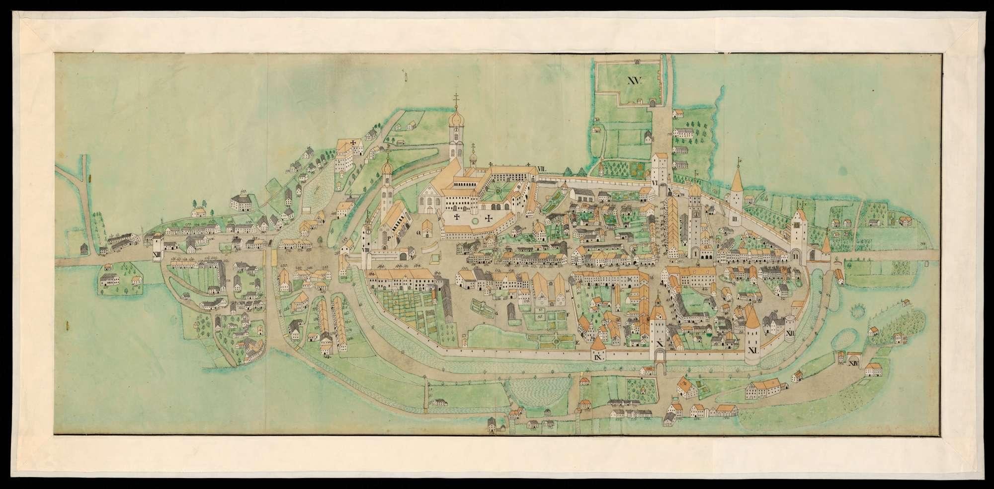 Ansicht der Reichsstadt Isny aus der Vogelperspektive, Bild 1