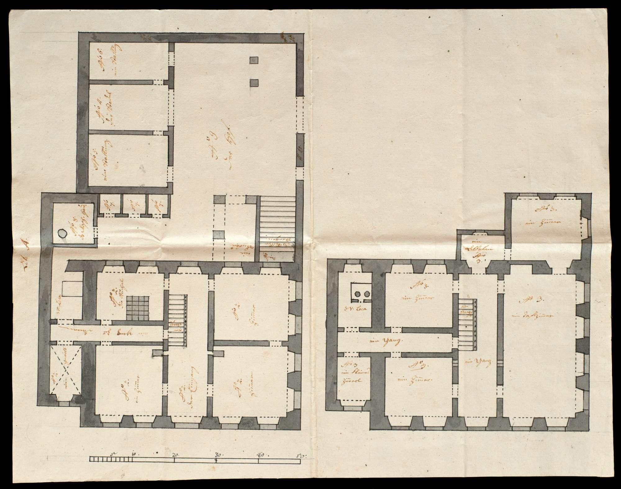 Kolorierte Pläne des steinernen Amtshauses des Klosters Urspring zu Schelklingen, Bild 1