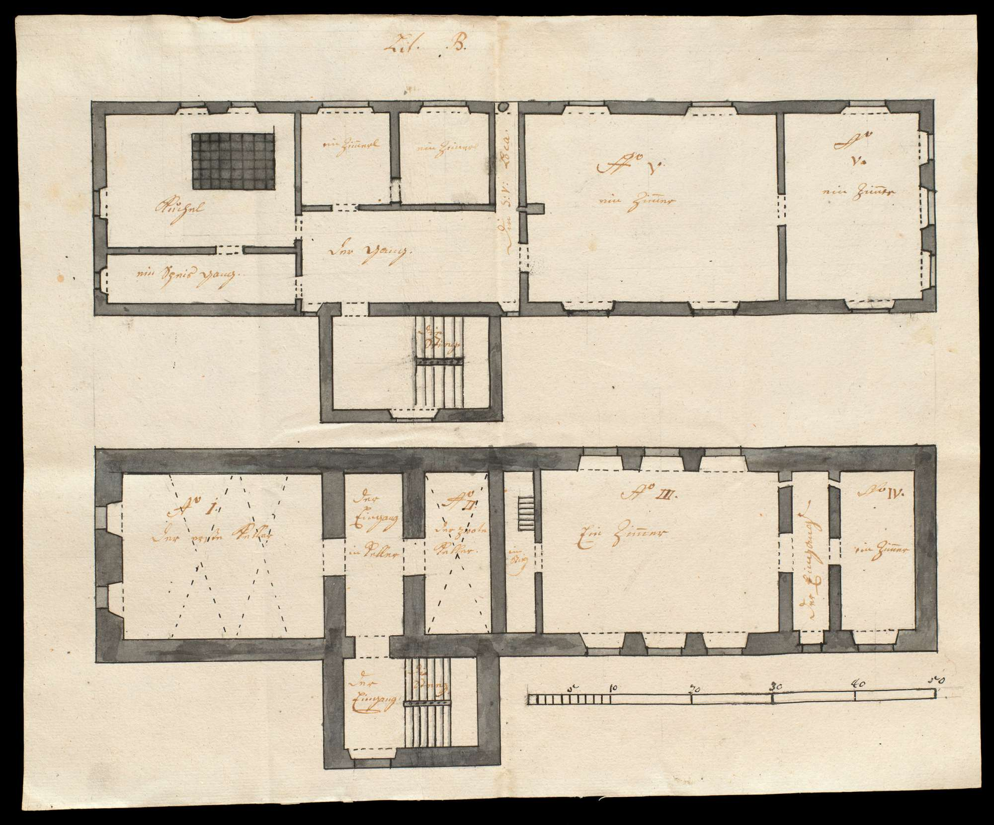Kolorierte Pläne des steinernen Amtshauses des Klosters Urspring zu Schelklingen, Bild 2
