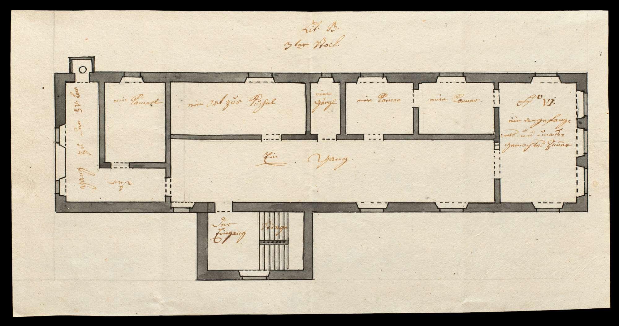 Kolorierte Pläne des steinernen Amtshauses des Klosters Urspring zu Schelklingen, Bild 3