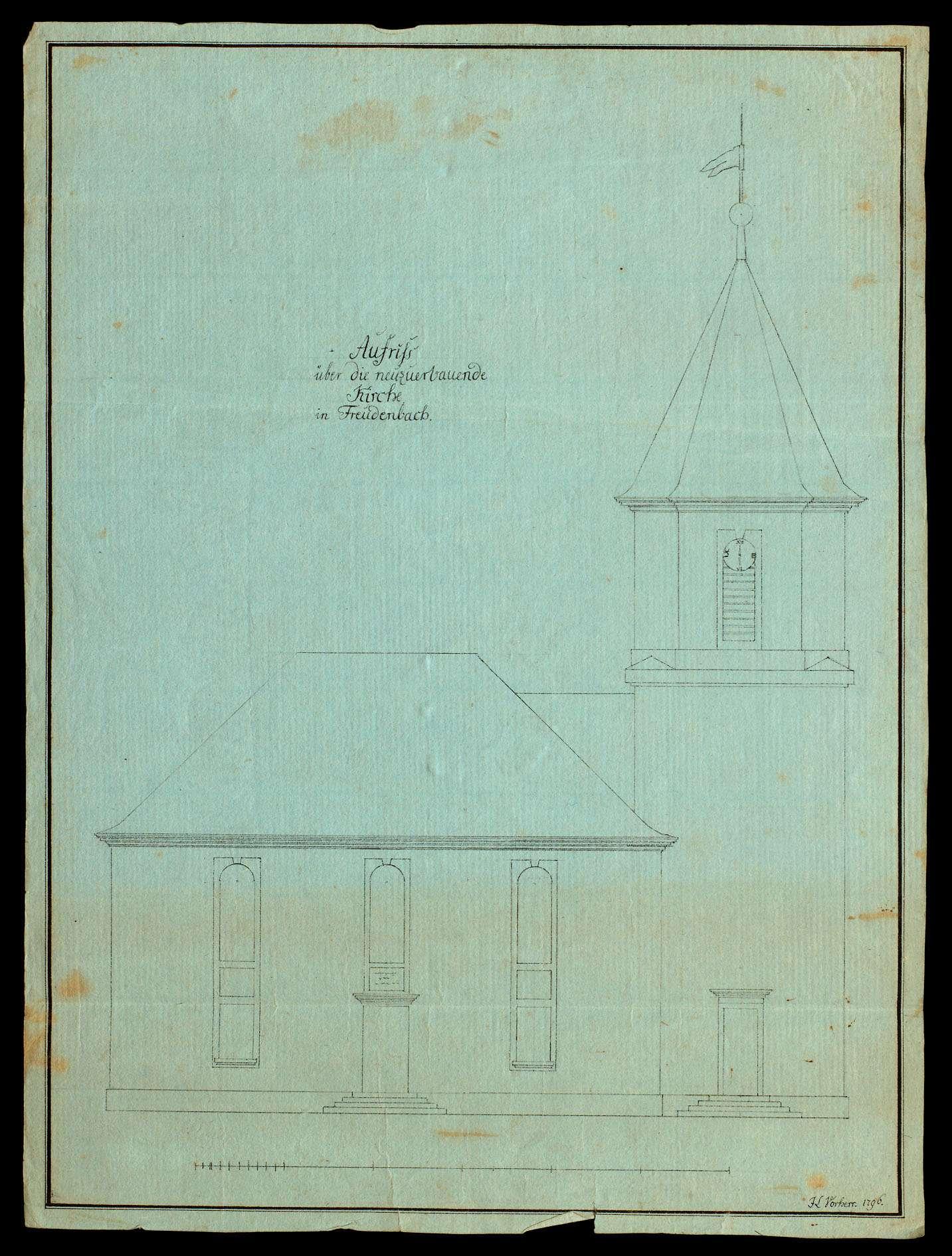 Drei Baupläne der evangelischen Kirche in Freudenbach (Kreis Mergentheim), Bild 1