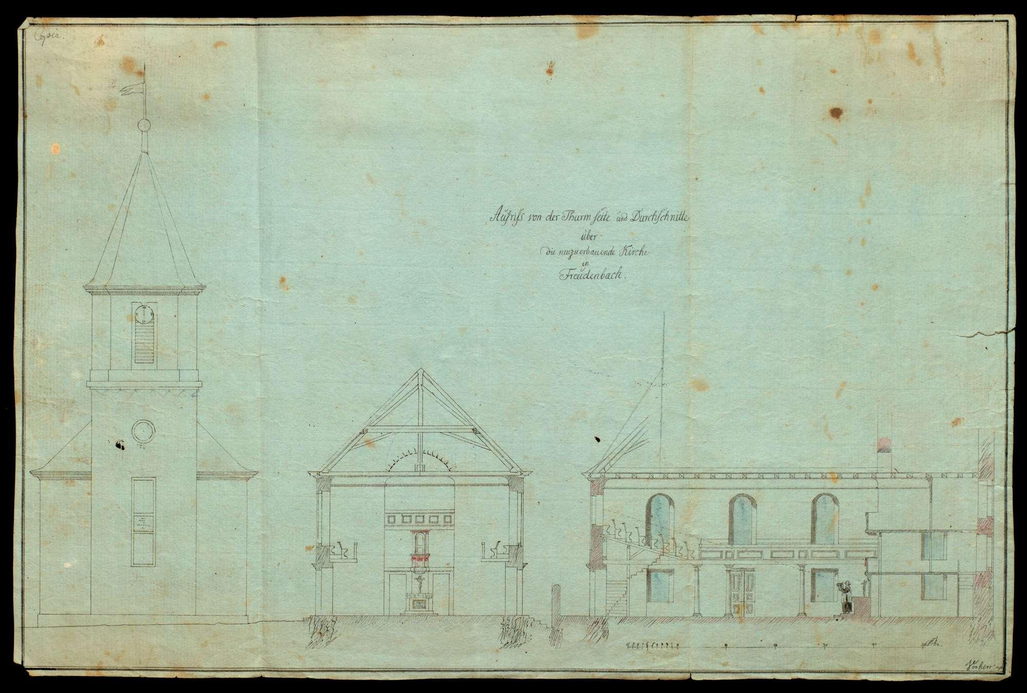 Drei Baupläne der evangelischen Kirche in Freudenbach (Kreis Mergentheim), Bild 3