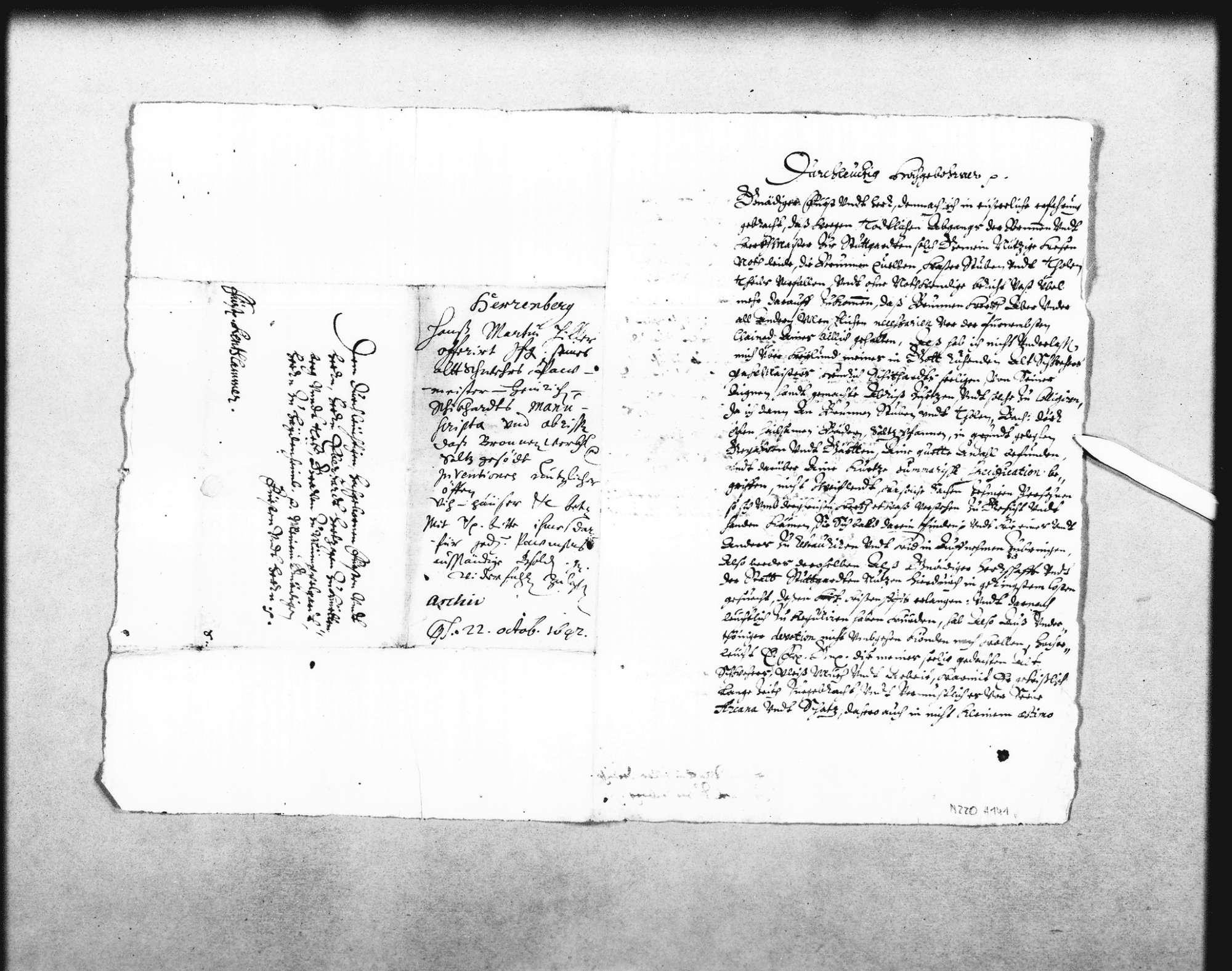 Johann Martin Hiller, Ehemann der Enkelin Heinrich Schickhardts, bietet dem Herzog Eberhard bzw. der Rentkammer die Sammlung von Manuskripten und Plänen Heinrich Schickhardts an, Bild 1
