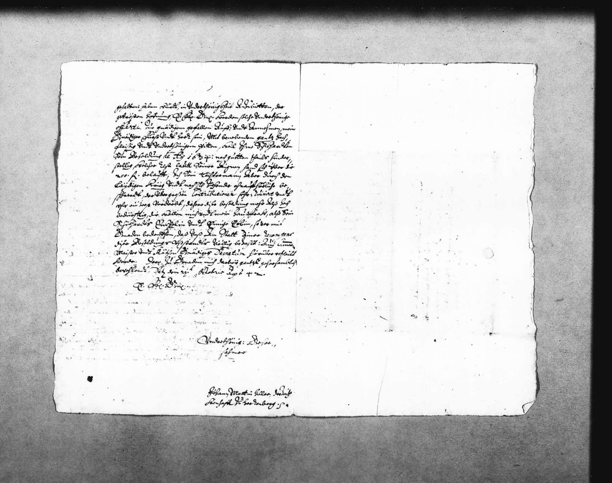 Johann Martin Hiller, Ehemann der Enkelin Heinrich Schickhardts, bietet dem Herzog Eberhard bzw. der Rentkammer die Sammlung von Manuskripten und Plänen Heinrich Schickhardts an, Bild 2