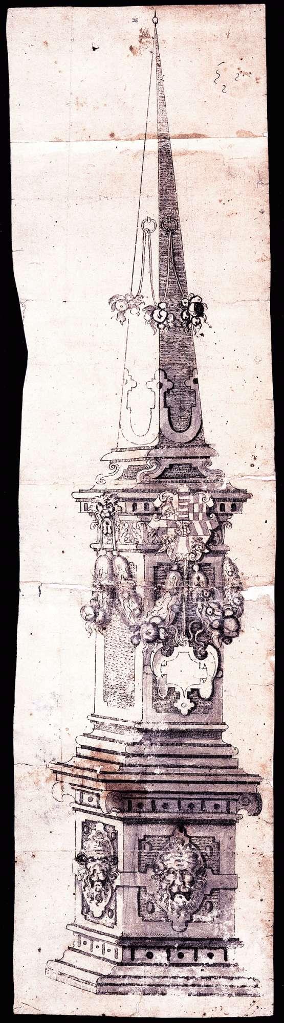 Steinsäule mit Pyramidenaufsatz [für den Schlossbrunnen in Leonberg?], Bild 1