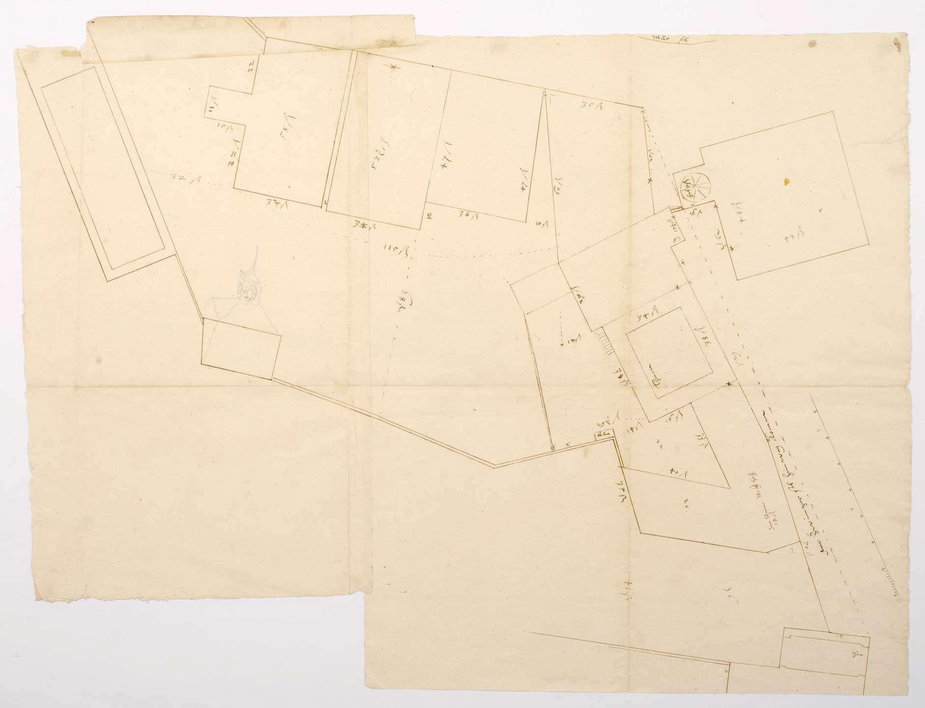 Grundriss/Lageplan der abzubrechenden Stiftshäuser (41 x 53 cm), Bild 1