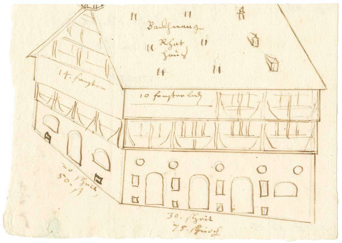 Skizze des Rathauses in Backnang (Quart), Bild 1