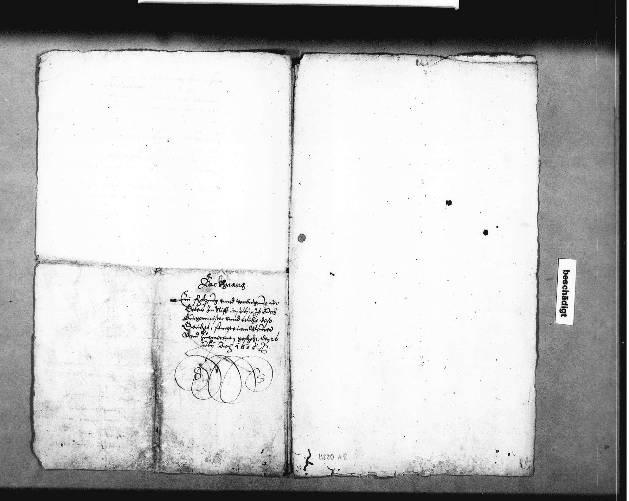 Kostenschätzung für den Abbruch der Stiftshäuser in Backnang für den Neubau des Schlosses, gefertigt von Elias Guntzenhäuser u. a., Bild 1