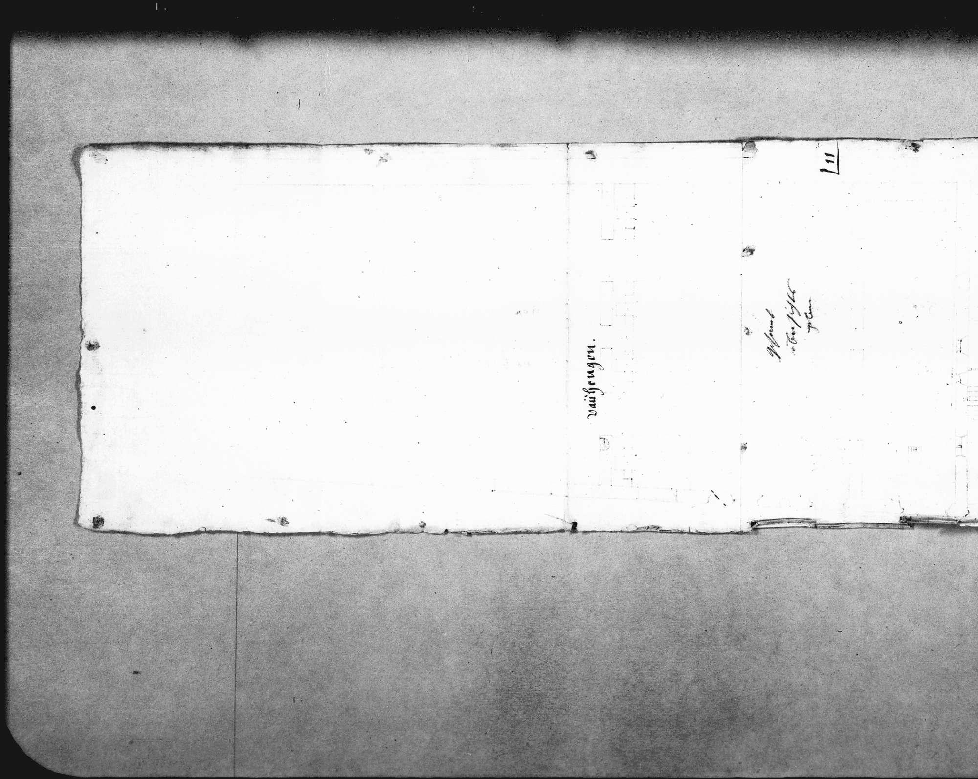 Tintenskizze mit Angabe der Lage und Maße der abgebrannten wiederaufzubauenden Gebäude (18 x 56 cm), Erläuterungen dazu (Folio), Bild 2