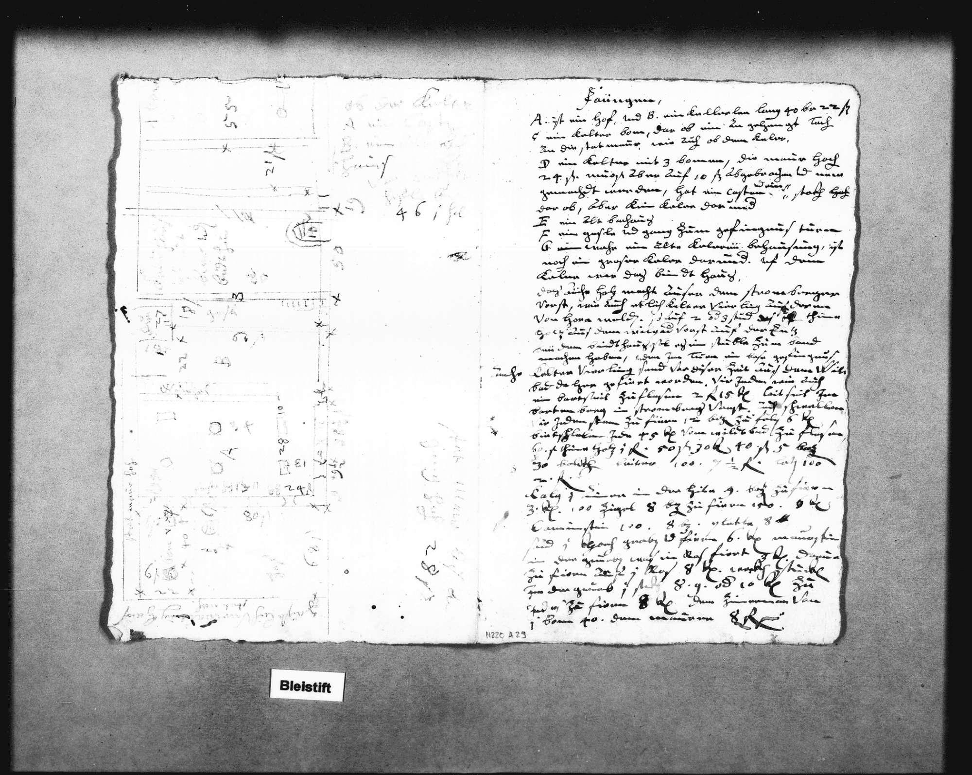 Tintenskizze mit Angabe der Lage und Maße der abgebrannten wiederaufzubauenden Gebäude (18 x 56 cm), Erläuterungen dazu (Folio), Bild 3