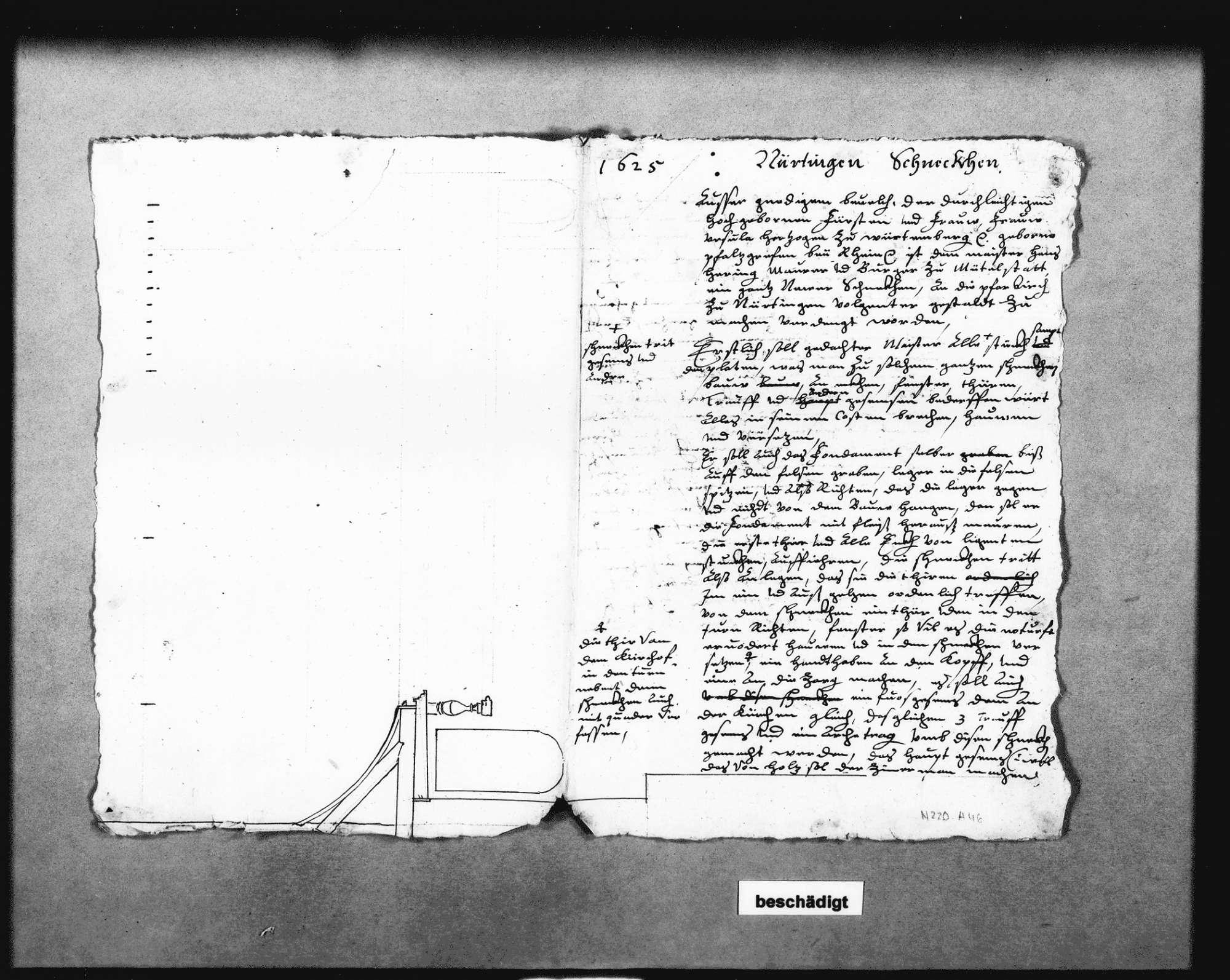 Schreiben Schickhardts auf Befehl der Herzogin Ursula von Württemberg über die Einstellung des Maurers Hans Hering (Folio Doppelblatt), Bild 1