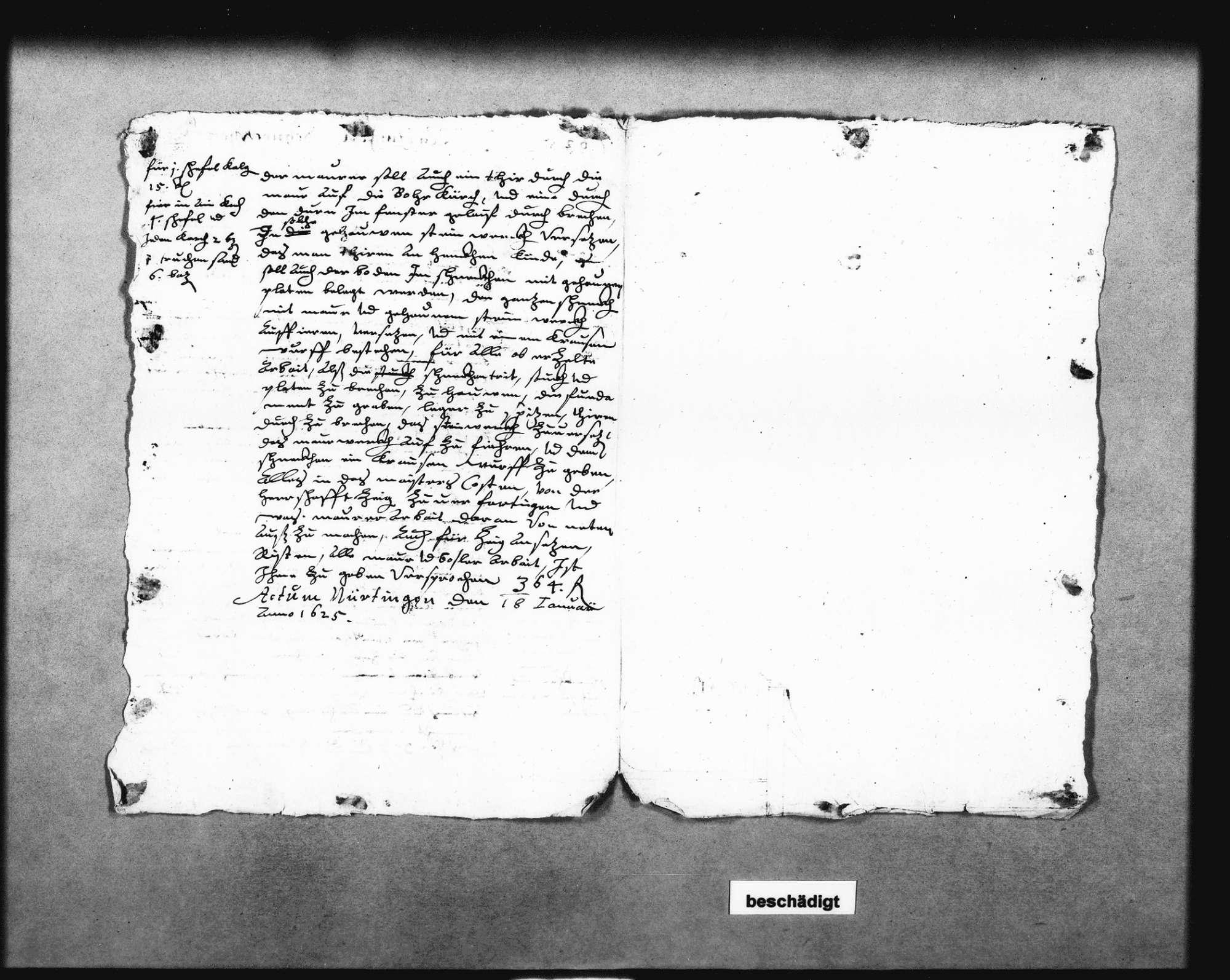 Schreiben Schickhardts auf Befehl der Herzogin Ursula von Württemberg über die Einstellung des Maurers Hans Hering (Folio Doppelblatt), Bild 2