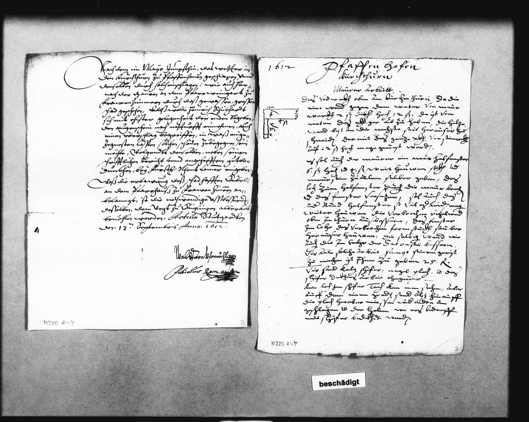 Instandsetzung des Kirchturms in Pfaffenhofen (Blitzschlag im Sommer 1612) und der Mauer des Pfarrweingartens sowie des Giebels am Pfarrhaus in Frauenzimmern, Bild 3