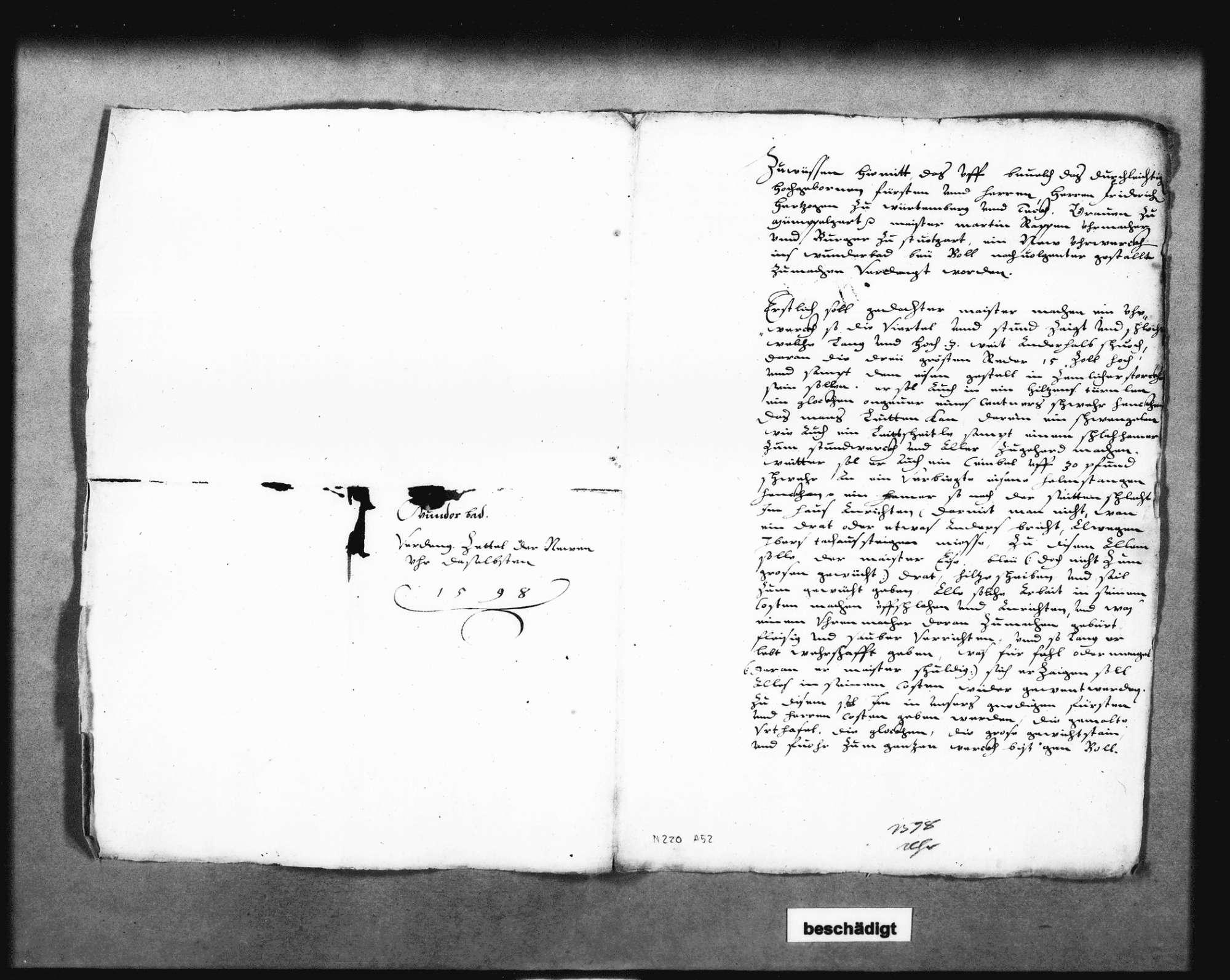 Auftrag für das Uhrtürmchen an den Uhrmachermeister Martin Rapp in Stuttgart, unterschrieben von Herzog Friedrich; zwei Schreiben dazu von Christoph Reyhing, Bild 1