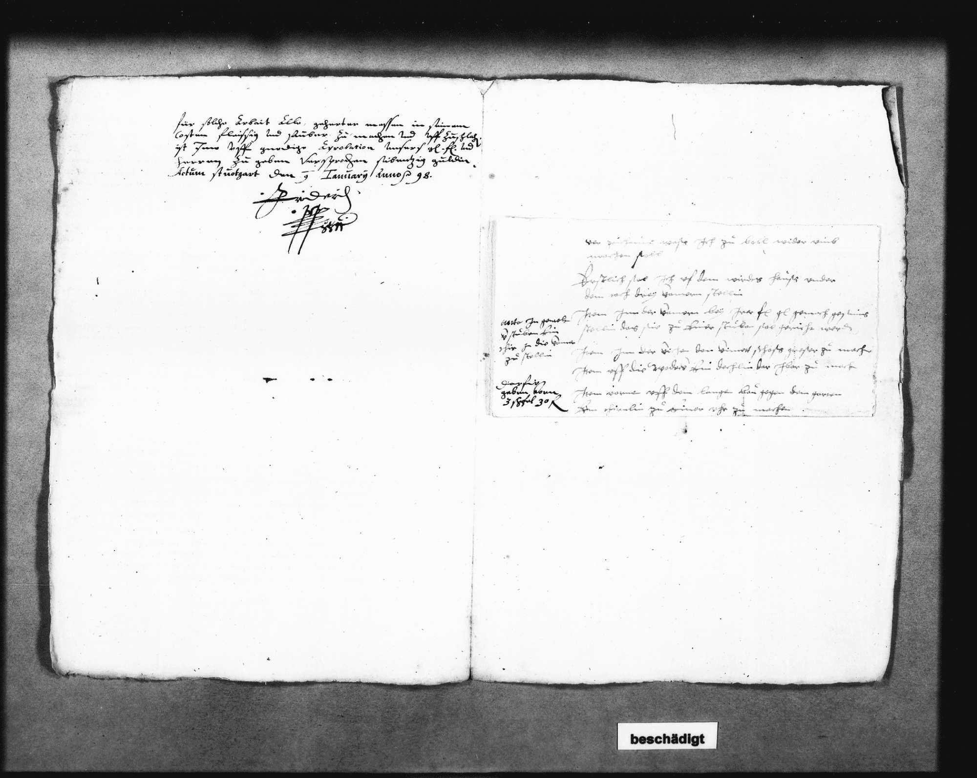 Auftrag für das Uhrtürmchen an den Uhrmachermeister Martin Rapp in Stuttgart, unterschrieben von Herzog Friedrich; zwei Schreiben dazu von Christoph Reyhing, Bild 2