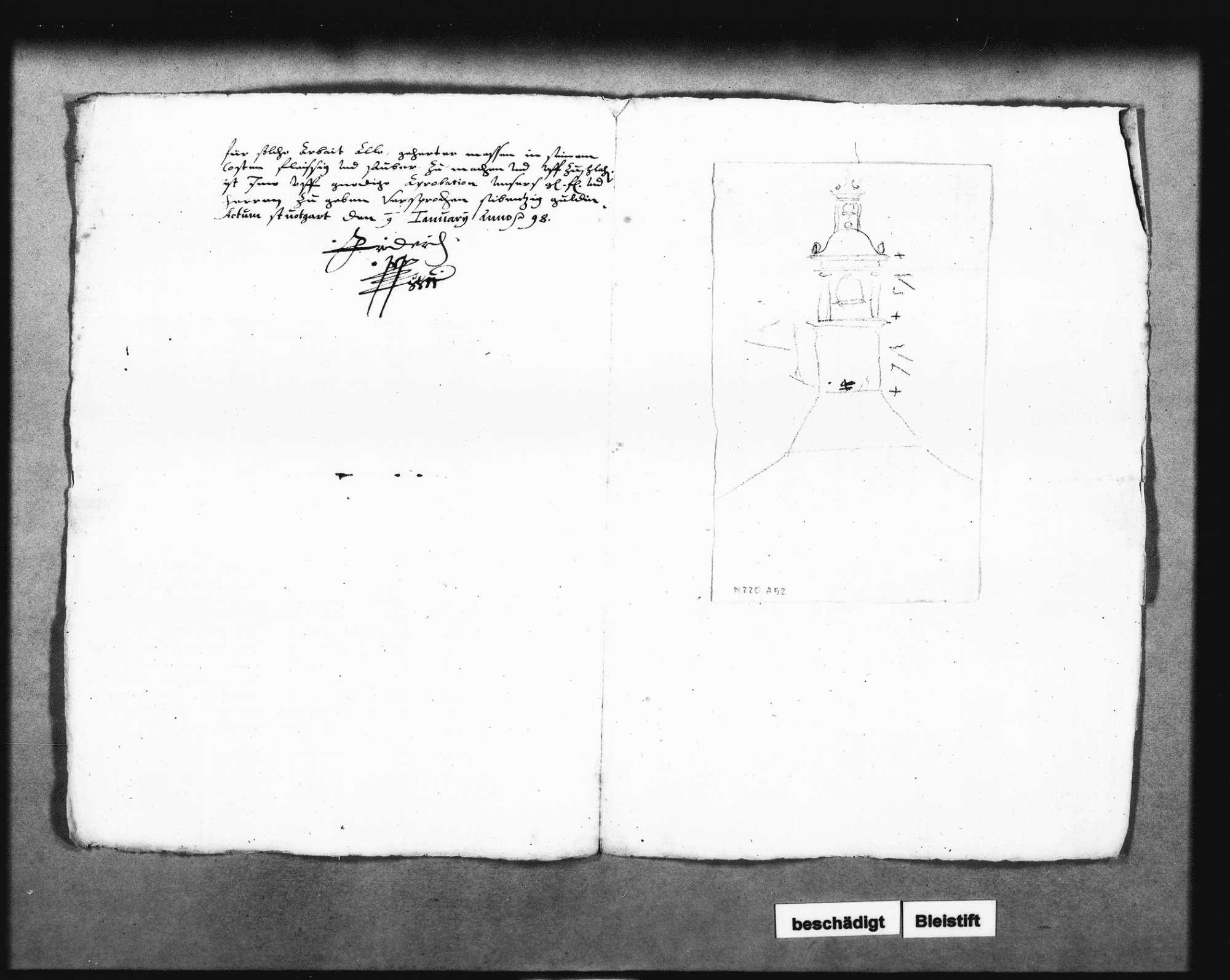 Auftrag für das Uhrtürmchen an den Uhrmachermeister Martin Rapp in Stuttgart, unterschrieben von Herzog Friedrich; zwei Schreiben dazu von Christoph Reyhing, Bild 3