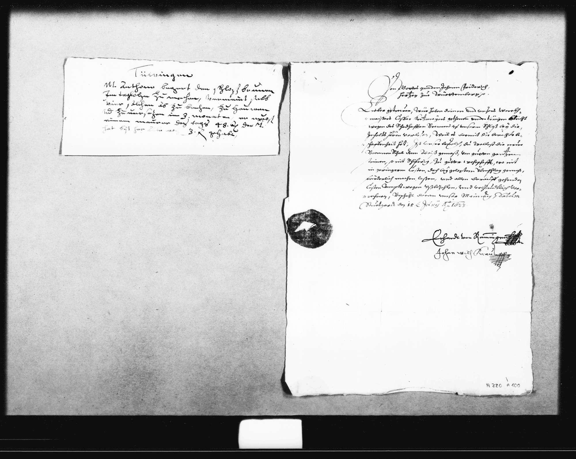 Schreiben des Herzogs Johann Friedrich an Philipp Eckhardt, Keller in Tübingen, über die Instandsetzung des Schlossbrunnens, Bild 1