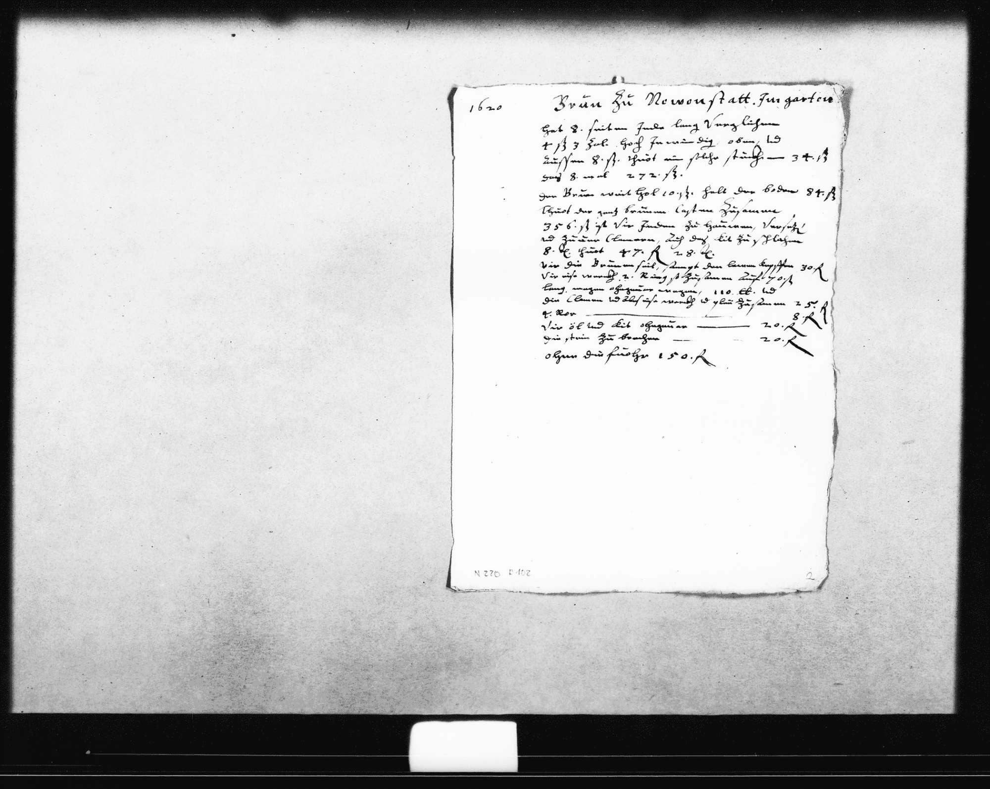 """Kostenvoranschläge, Berechnungen und kleinere Skizzen für den Schlossbrunnen im Garten mit gesonderten Aufstellungen für den Brunnenkasten und die Zuleitungsrohre (""""teichel"""") und einer Abrechnung des Steinmetzes, 1617-1618, 1620, einige o. D. (9 Folio, Oktav), mit kurzer Aufstellung des Reiseverlaufs und der Reisezeit von Stuttgart nach Neuenstadt, Bild 3"""