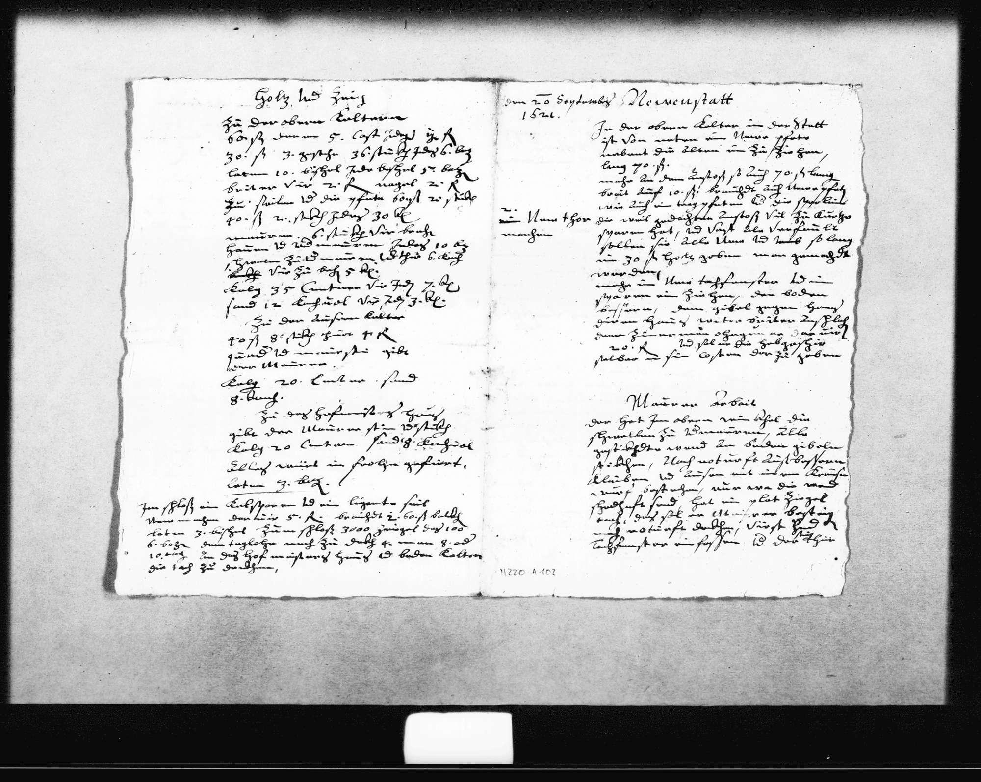 Planung und Kostenvoranschläge zur oberen und unteren Kelter von Schickhardt, 20. September 1621, zwei von Zimmermann Hans Ulmer, zwei vom Maurer, eine für Steinmetzarbeiten, alle o. D. (Folio), Bild 1