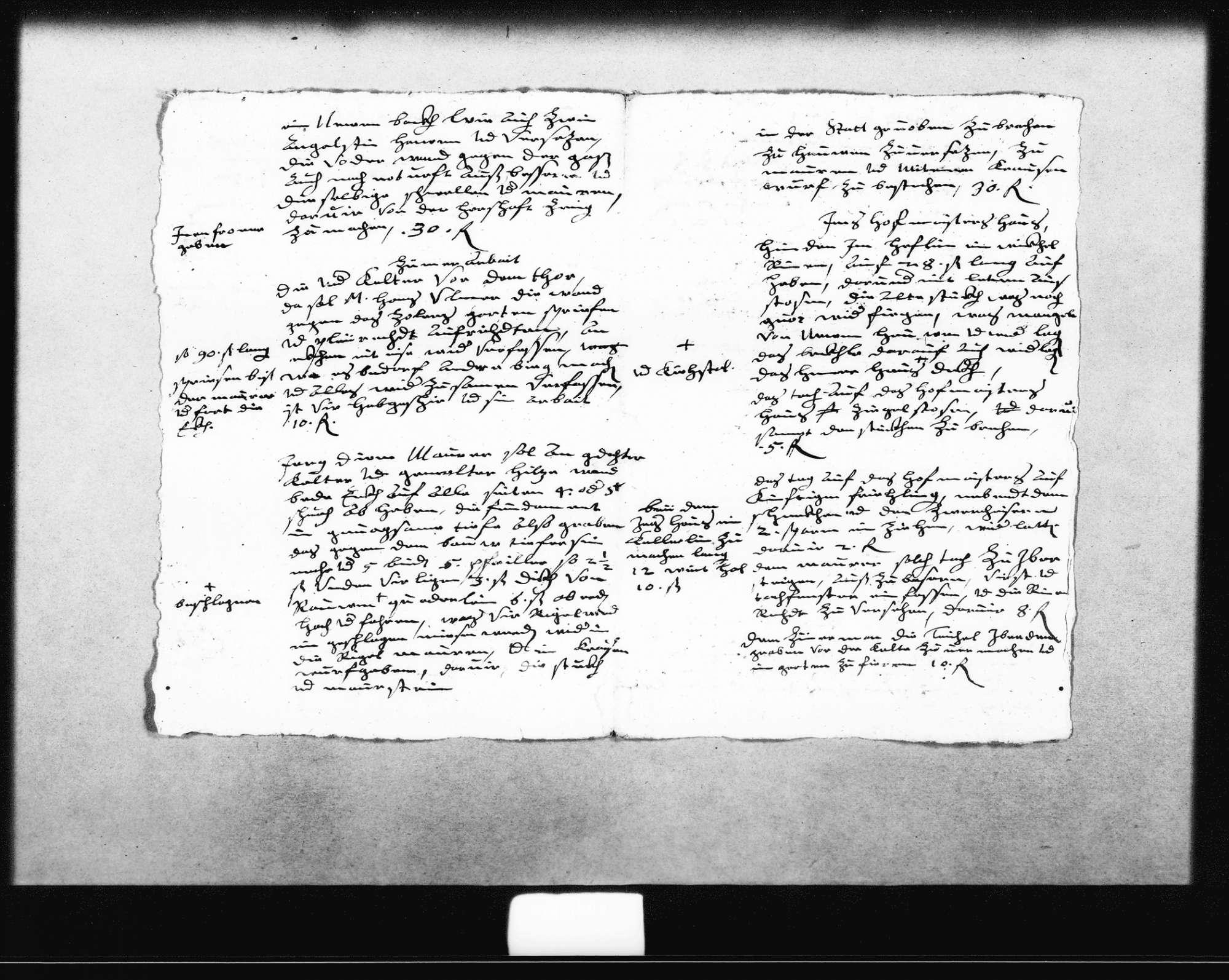 Planung und Kostenvoranschläge zur oberen und unteren Kelter von Schickhardt, 20. September 1621, zwei von Zimmermann Hans Ulmer, zwei vom Maurer, eine für Steinmetzarbeiten, alle o. D. (Folio), Bild 2