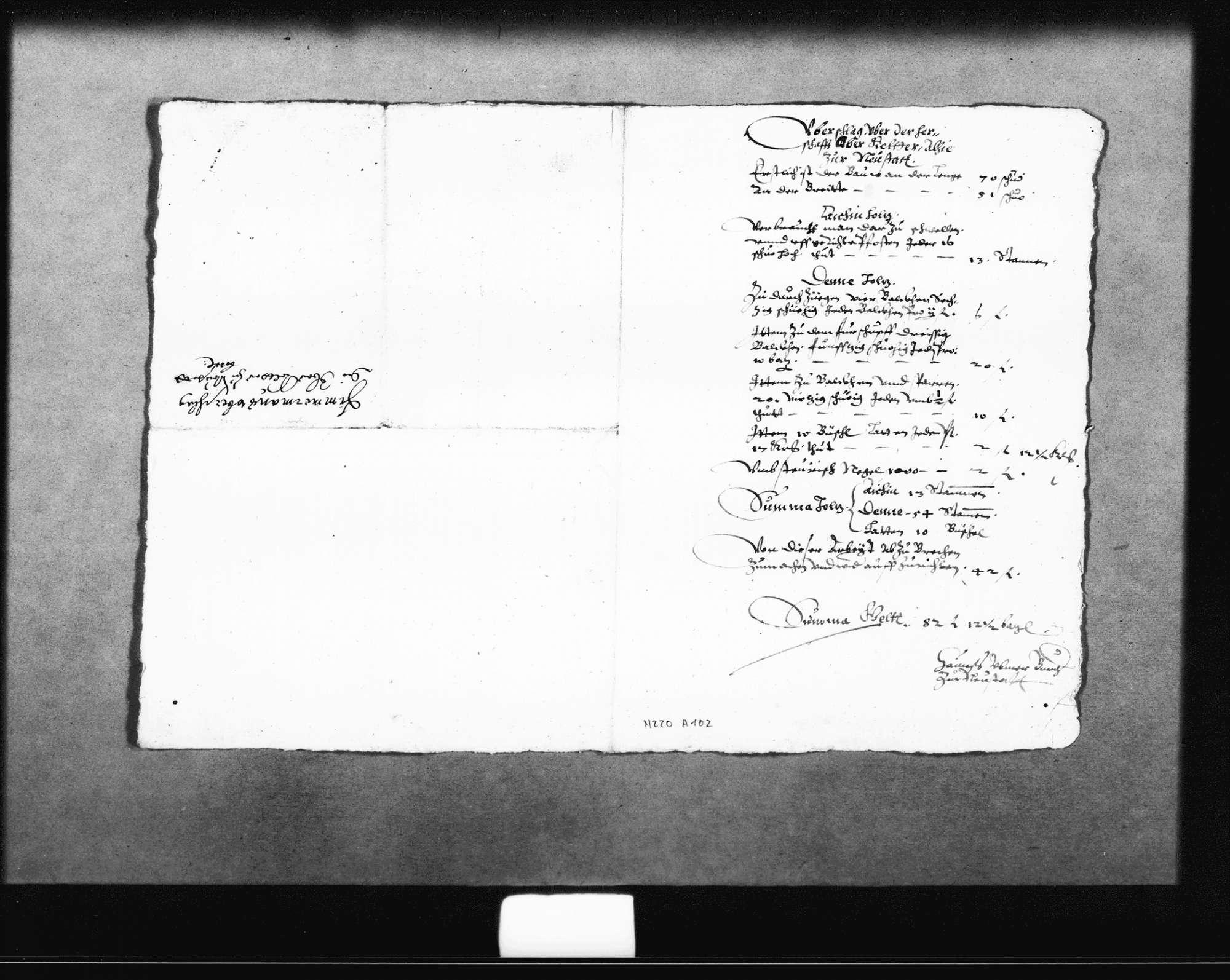 Planung und Kostenvoranschläge zur oberen und unteren Kelter von Schickhardt, 20. September 1621, zwei von Zimmermann Hans Ulmer, zwei vom Maurer, eine für Steinmetzarbeiten, alle o. D. (Folio), Bild 3