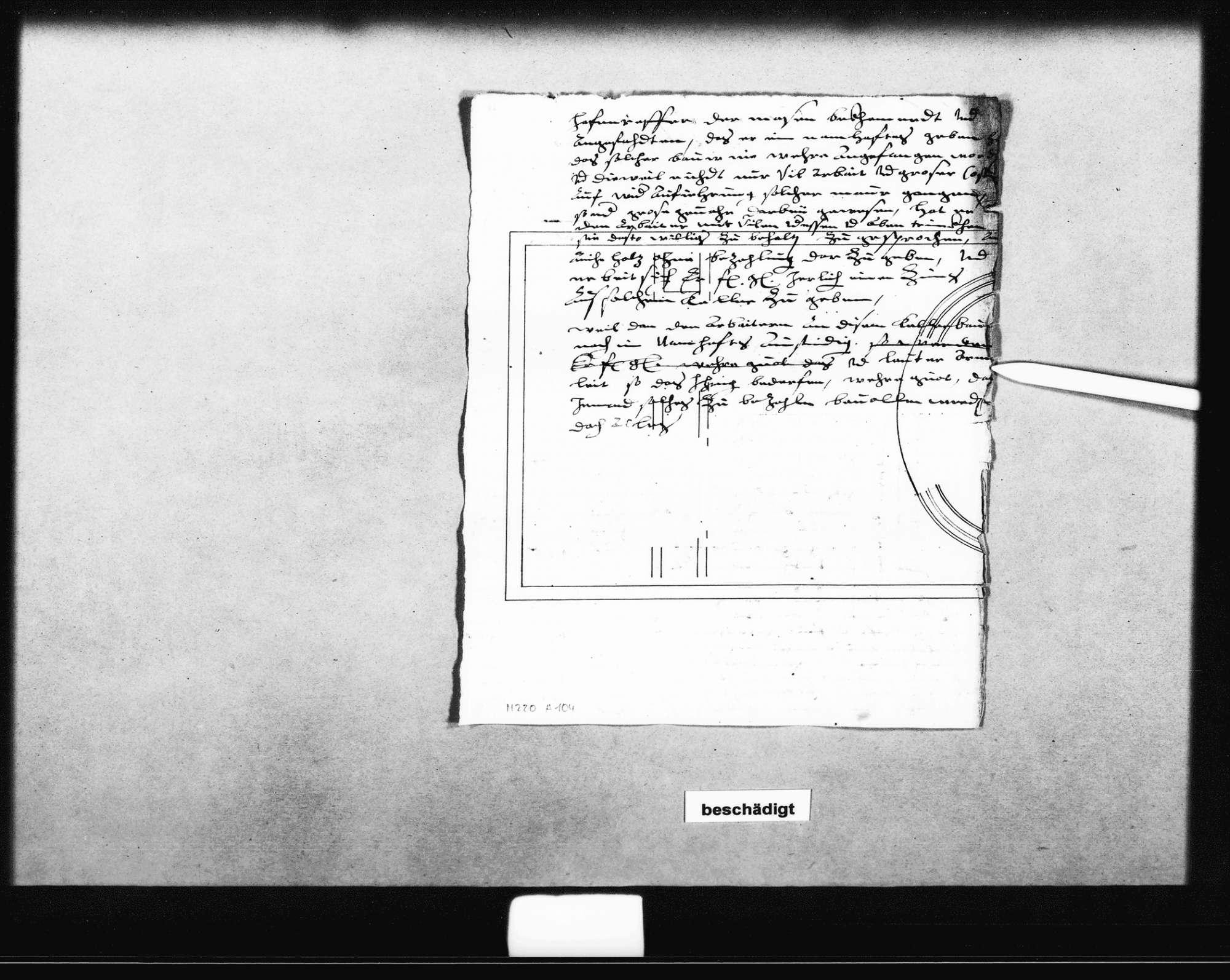 Entwurf eines Schreibens Schickhardts an den Herzog, 1616 (Folio); Schreiben Marx Besserers, Geistlicher Verwalter in Tübingen, zu den Arbeiten und der Bezahlung, 11. April 1616 (Folio); beiliegend eine Aufstellung zu den Arbeiten an einem Dach in Tübingen (Quart), Bild 2