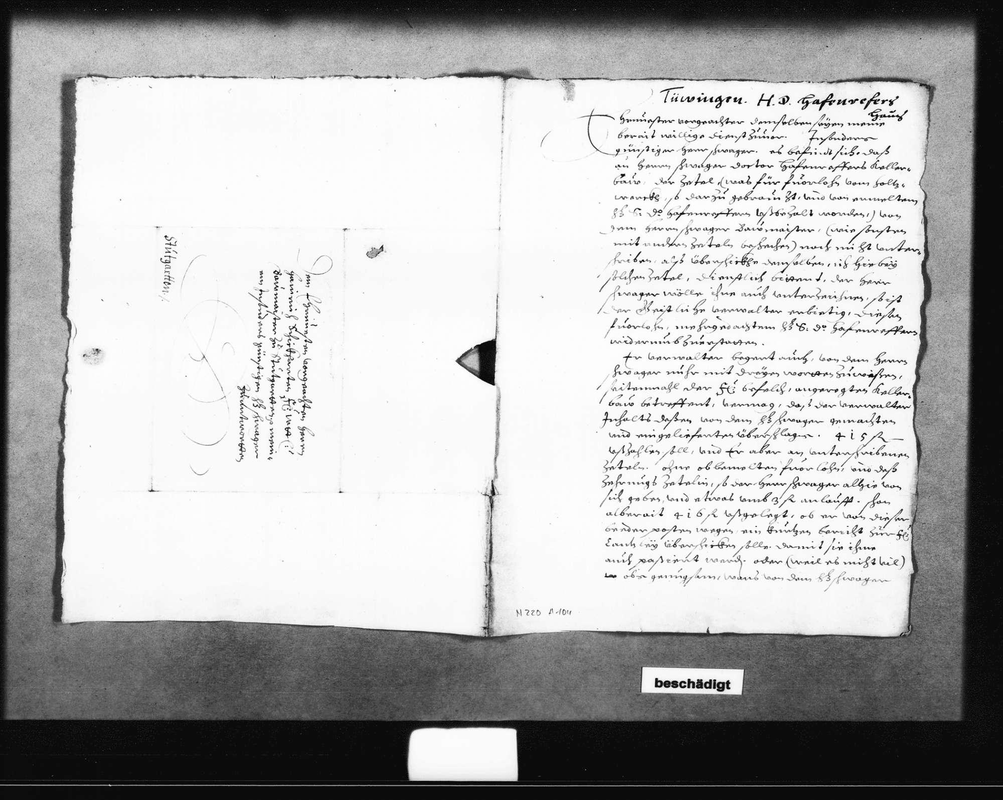 Entwurf eines Schreibens Schickhardts an den Herzog, 1616 (Folio); Schreiben Marx Besserers, Geistlicher Verwalter in Tübingen, zu den Arbeiten und der Bezahlung, 11. April 1616 (Folio); beiliegend eine Aufstellung zu den Arbeiten an einem Dach in Tübingen (Quart), Bild 3