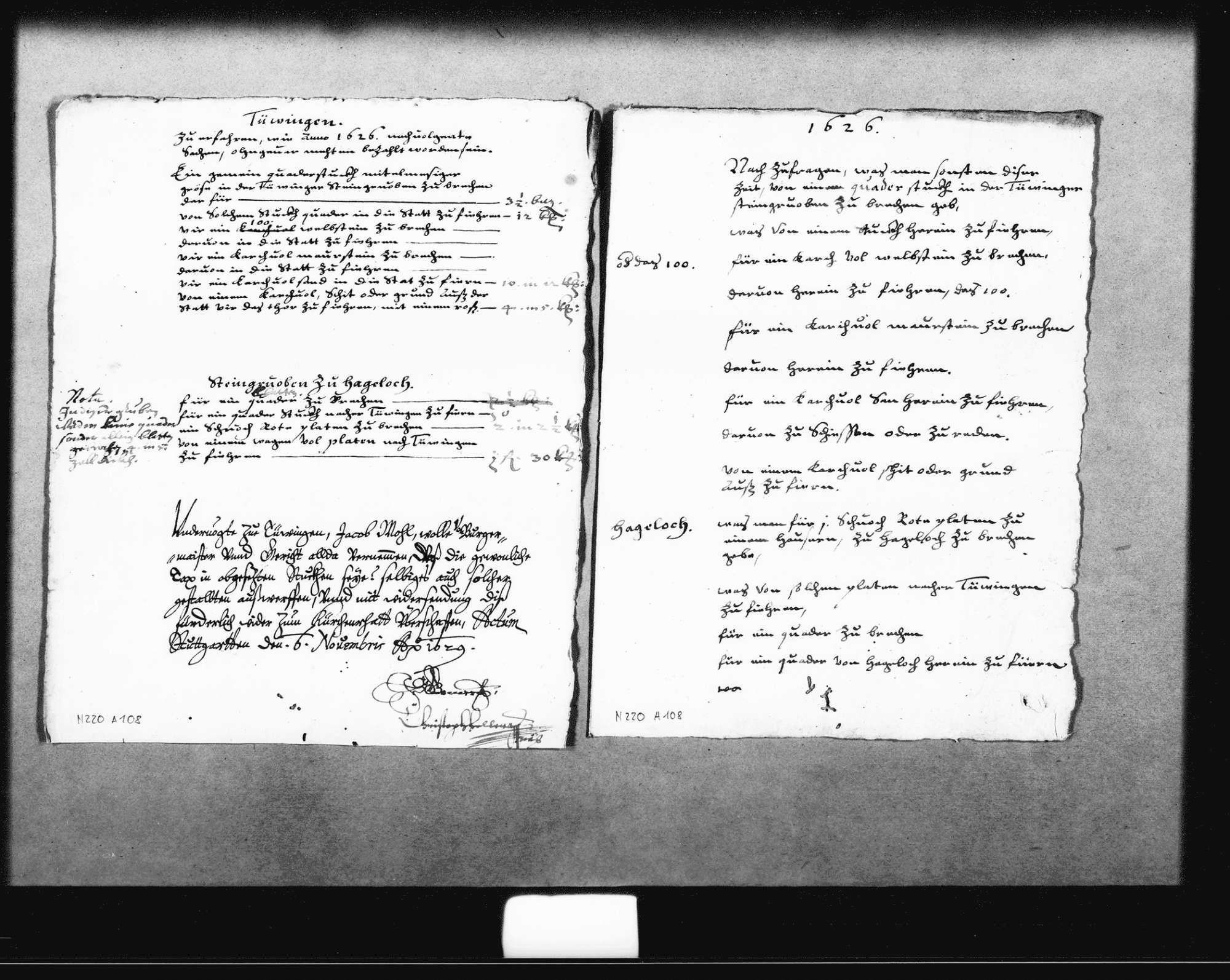 Preise im Jahr 1626 für den Abbau und die Lieferung von Mauersteinen aus den Steinbrüchen bei Tübingen und Hagelloch, Bild 1