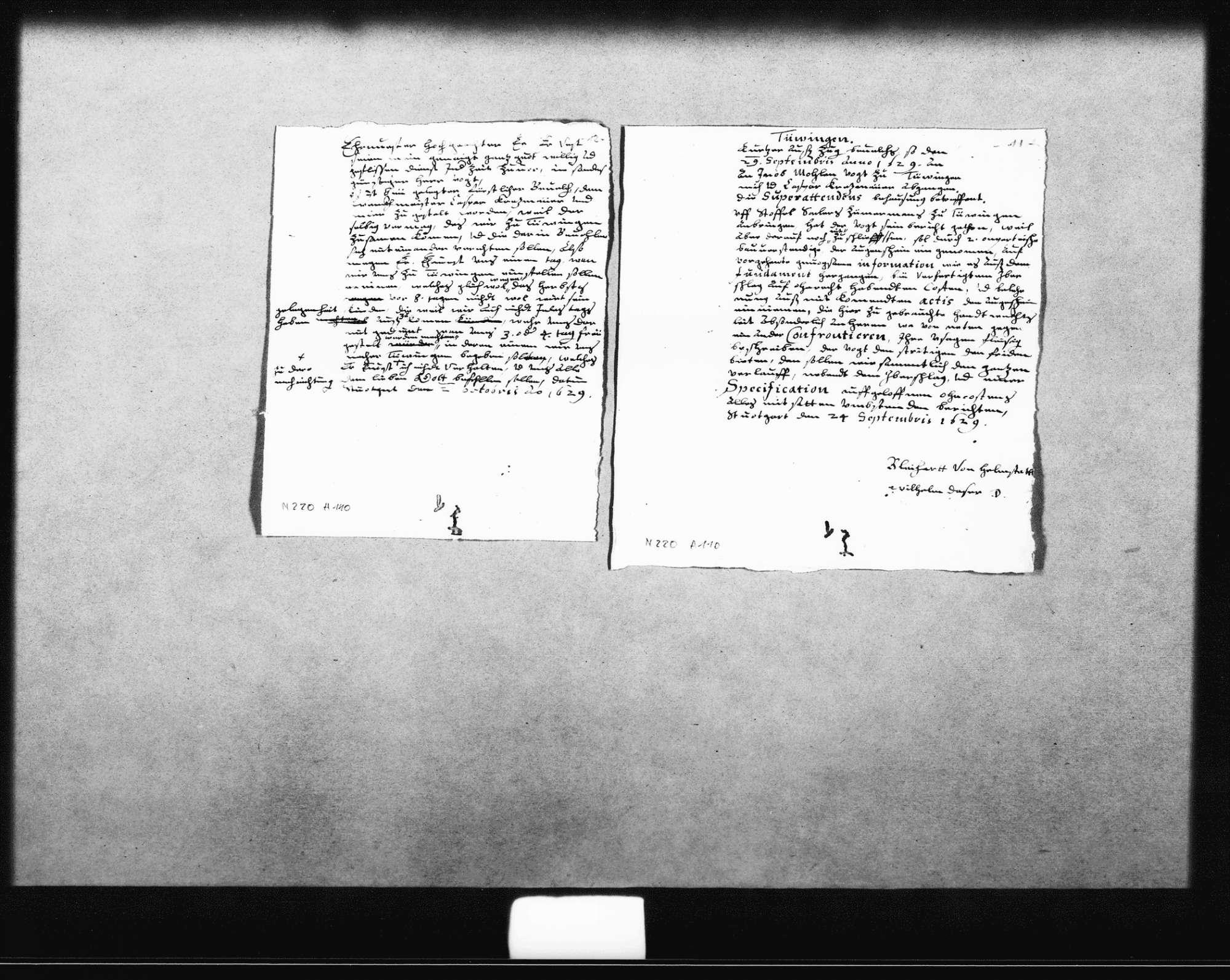 Notizen, Entwürfe und Rechnungen für ein Gutachten zu Unstimmigkeiten bei der Abrechnung der Baukosten (u. a. für das Haus des Superattendenten) durch Christoph Seiler, Zimmermann, zum Teil o. D. (3 Oktav, Quart, Folio Doppelblatt) und datiert 24. September 1629 (Quart), 2. Oktober 1629 (Quart), 1631 (Folio), Bild 1