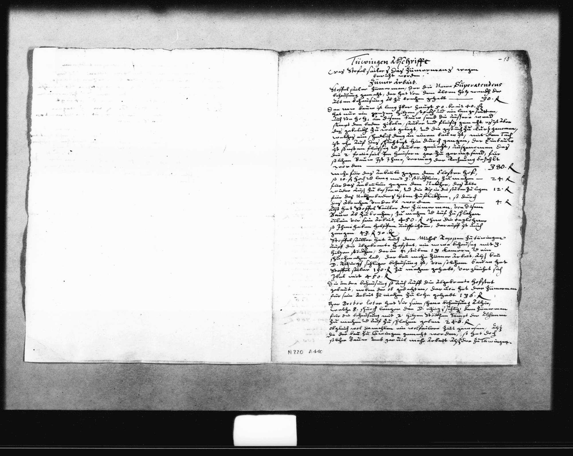 Notizen, Entwürfe und Rechnungen für ein Gutachten zu Unstimmigkeiten bei der Abrechnung der Baukosten (u. a. für das Haus des Superattendenten) durch Christoph Seiler, Zimmermann, zum Teil o. D. (3 Oktav, Quart, Folio Doppelblatt) und datiert 24. September 1629 (Quart), 2. Oktober 1629 (Quart), 1631 (Folio), Bild 3