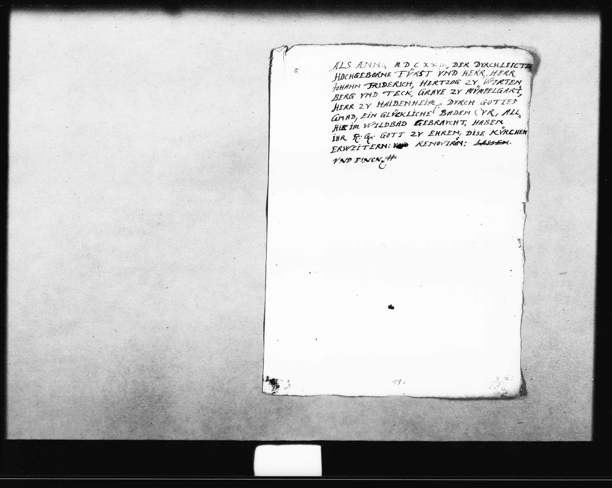 Aufschrift für die Gedenktafel zur Erweiterung und Renovierung der Kirche unter Herzog Johann Friedrich von Württemberg (Folio, Tinte), Bild 1