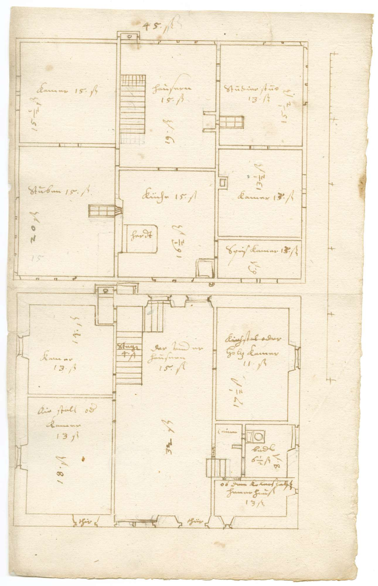 Grundriss von zwei Stockwerken mit Maßen und Bezeichnung der Zimmer (Folio); Aufriss mit Notiz zur Verwendung des Holzes vom alten Pfarrhaus in Köngen für einen Bau in Denkendorf, Bild 2