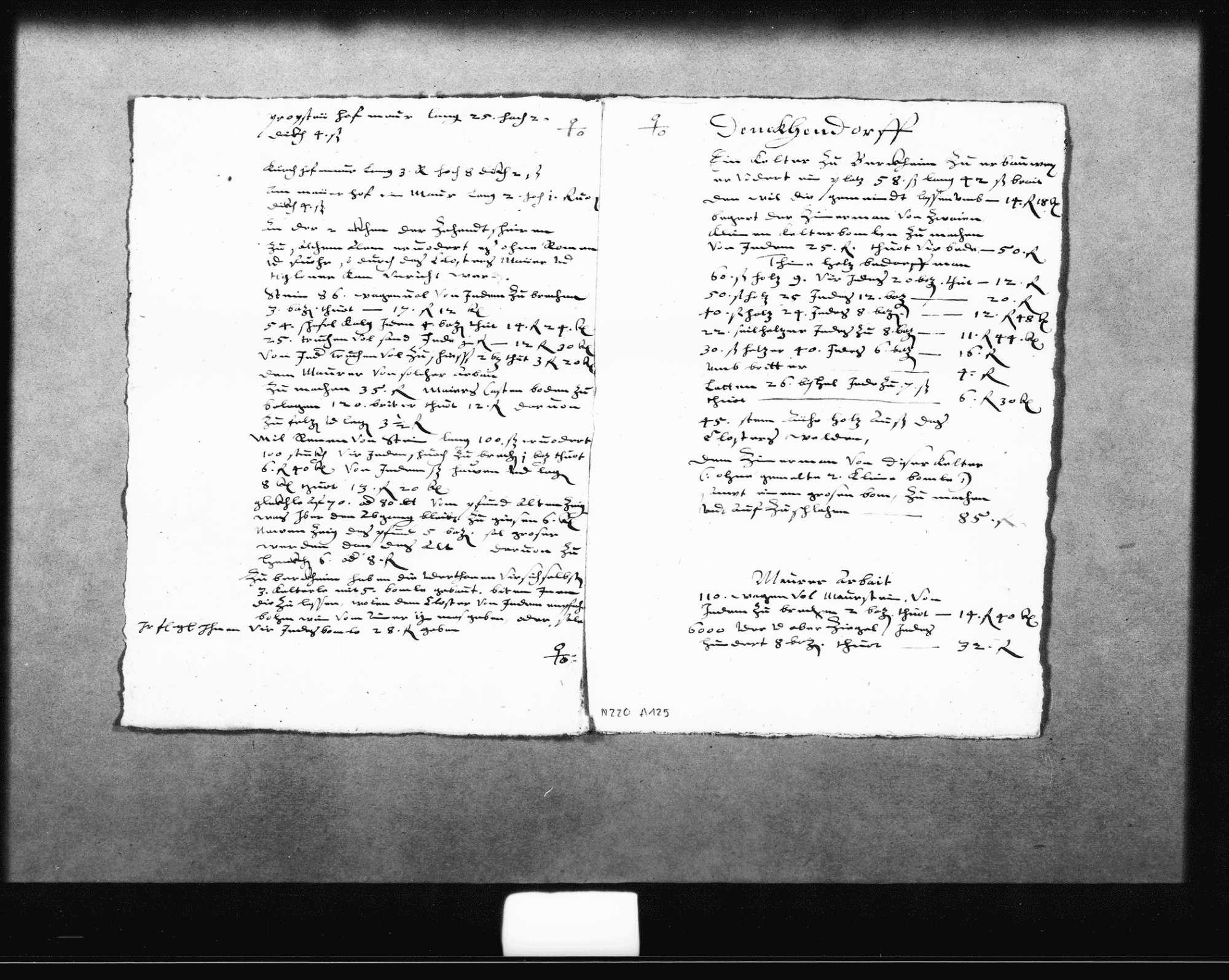 """Auszug aus dem Baubericht des Verwalters für den Zeitraum von Martini 1609 bis 1610 über eine neue Empore (""""bohrkürch"""") in der Denkendorfer Klosterkirche und eine Kelter in Berkheim, 10. November 1609 (2 Folio), Bild 2"""