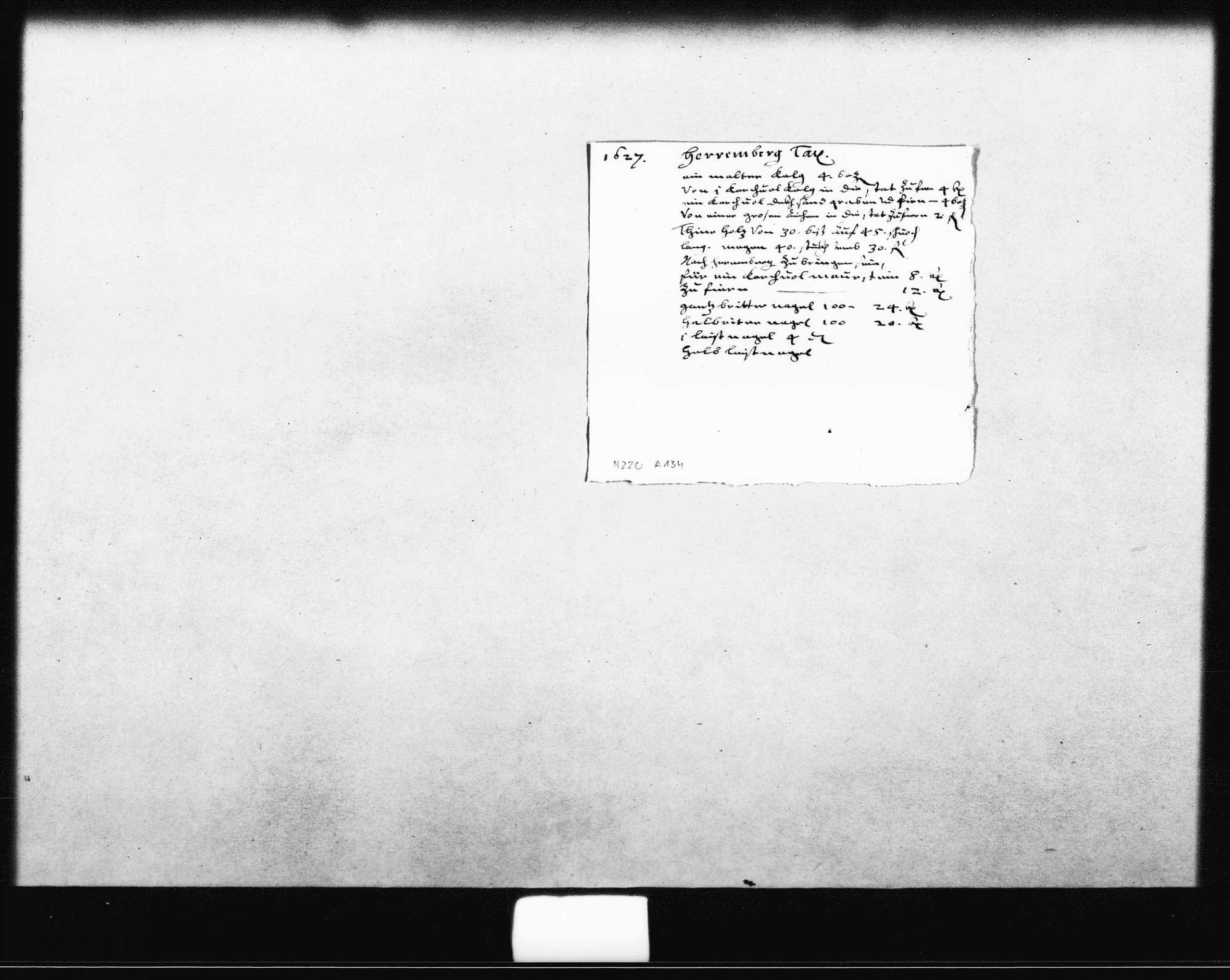 """Aufstellung der Material- und Transportkosten (""""Tax"""") für Herrenberg (Quart), Bild 1"""