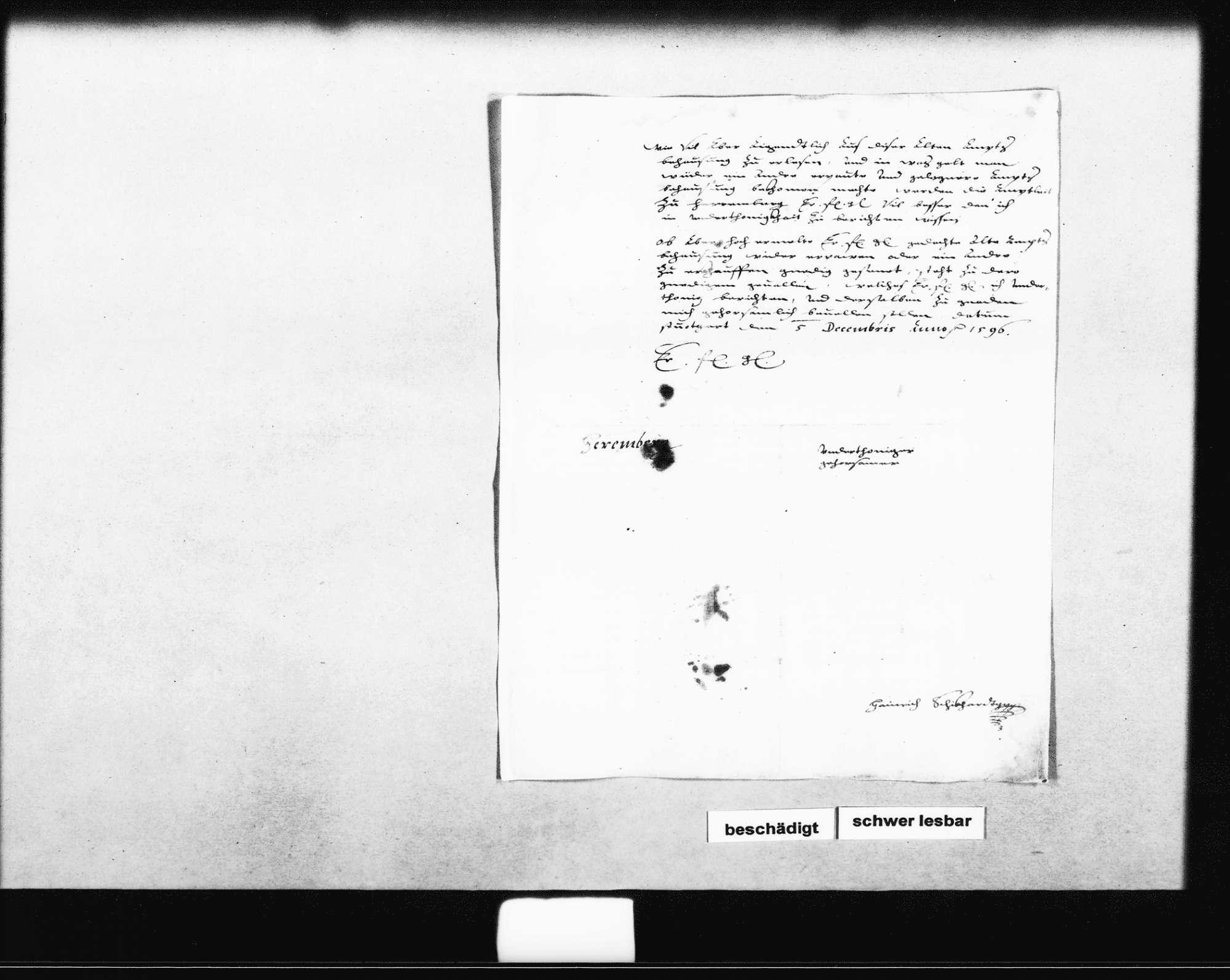 Gutachten und Bericht an den Herzog über das baufällige Amtshaus des Untervogtes (Folio), Bild 2