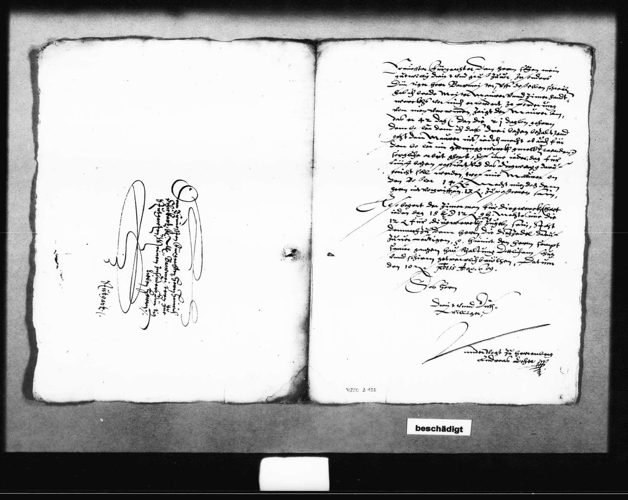 Zwei Schreiben von Andreas Leher, Untervogt in Herrenberg, über den hinteren Schlossturm, 1609; Entwurf eines Berichts an den Herzog von Schickhardt darüber, 11. August 1609, Bild 2