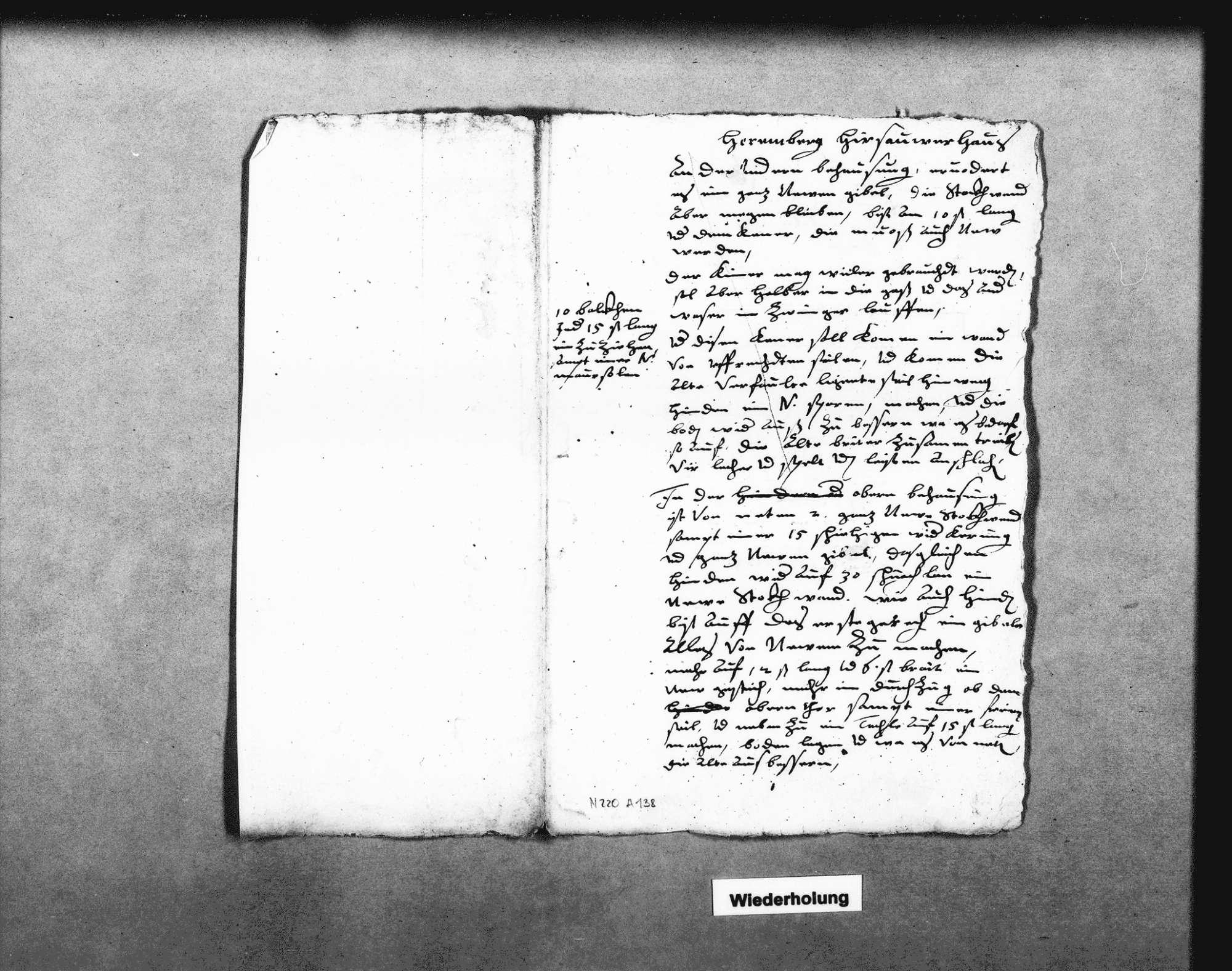 Kostenvoranschläge und Gutachten zur Instandsetzung des oberen und unteren Teils des Hirsauer Hauses in Herrenberg, 1614 (6 Folio); Schreiben des Pflegers in Gültstein dazu, 2. Juli 1614 (Folio), Bild 3