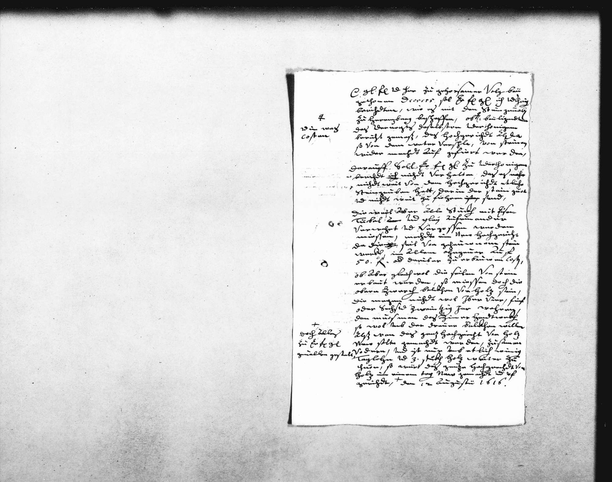 """Entwurf eines Berichts an den Herzog über den Wiederaufbau einer Richtstatt (""""Hochgericht"""") und die umliegenden Steinbrüche (Folio), Bild 1"""