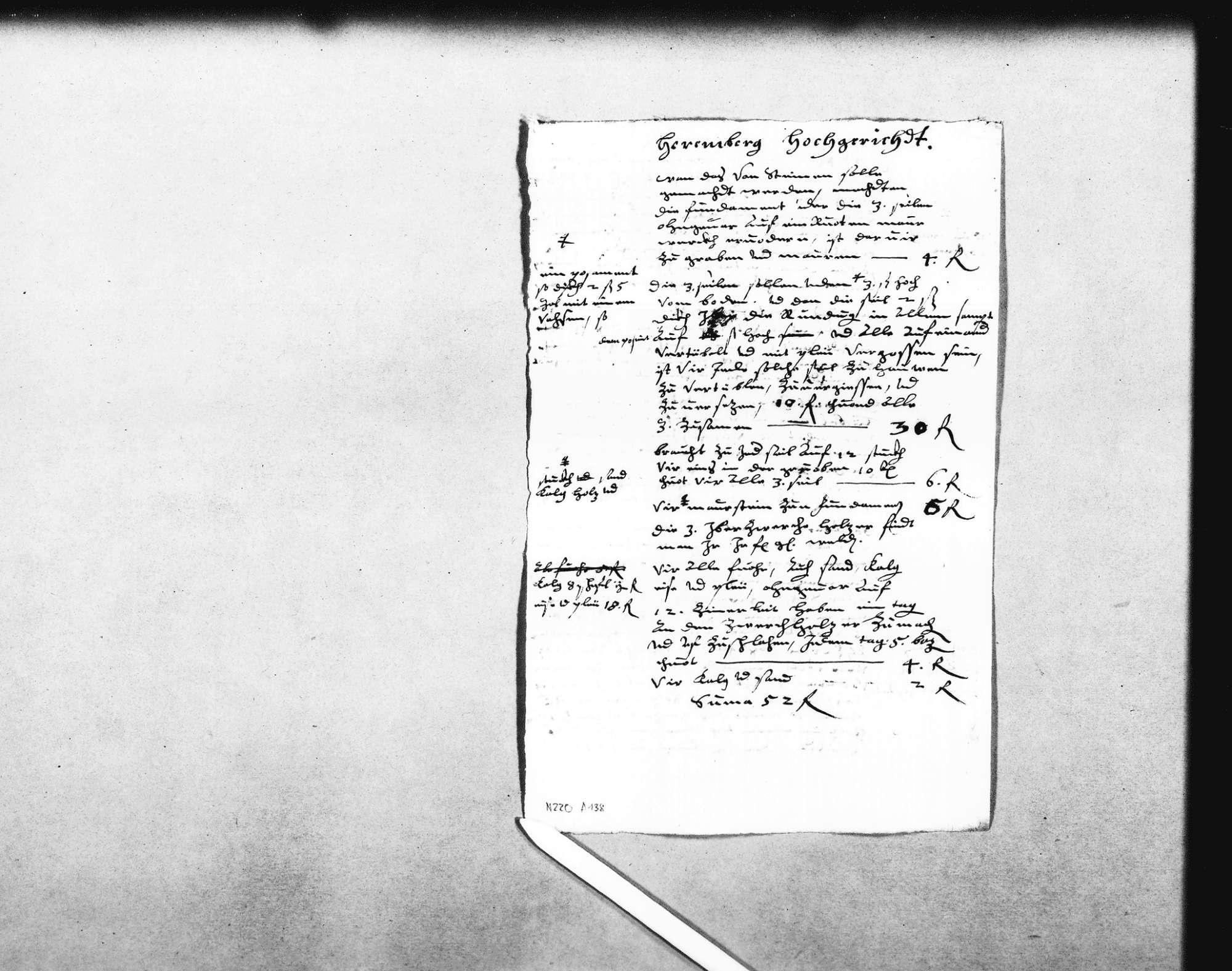 """Entwurf eines Berichts an den Herzog über den Wiederaufbau einer Richtstatt (""""Hochgericht"""") und die umliegenden Steinbrüche (Folio), Bild 2"""