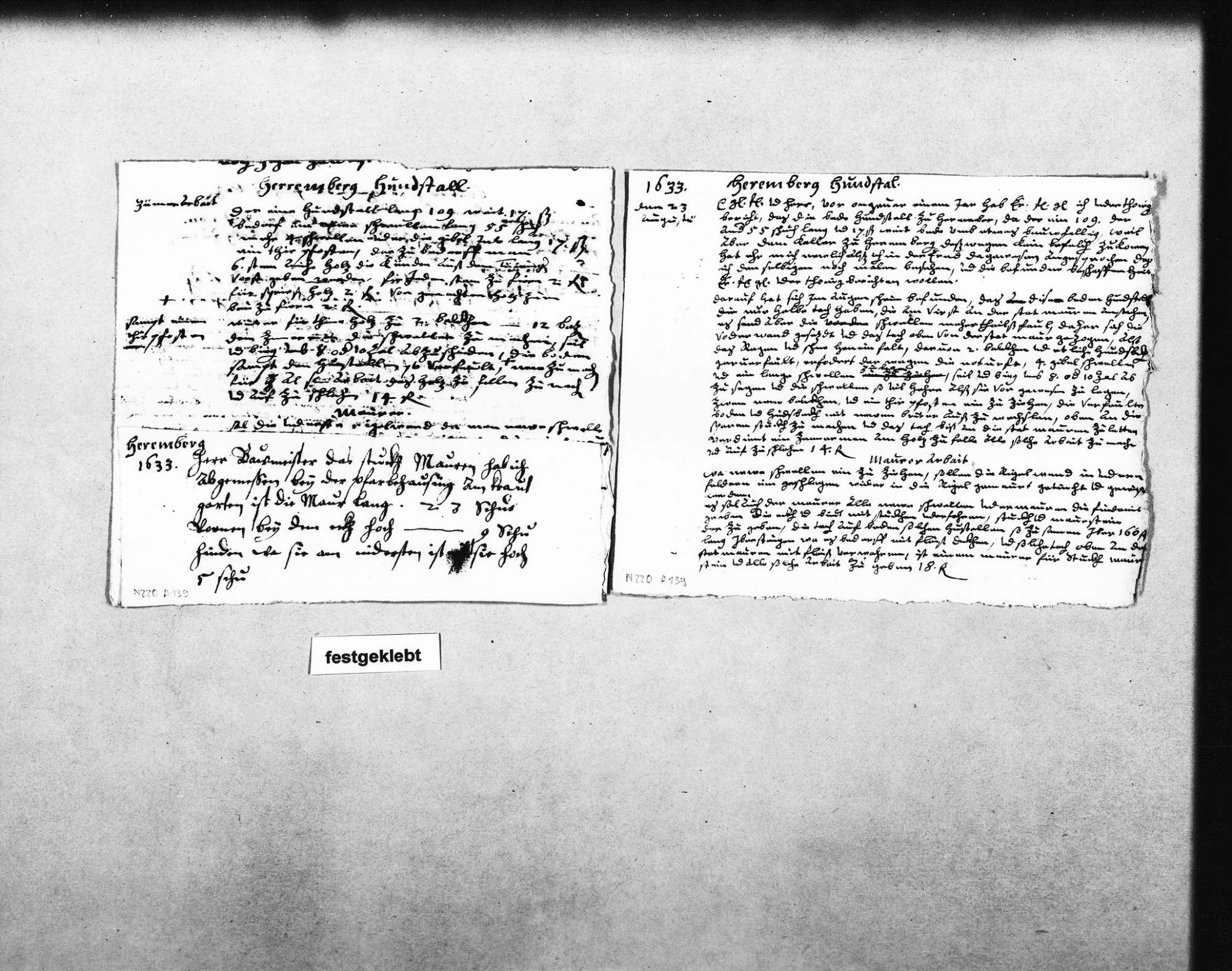 Gutachten und Kostenvoranschlag für die Erneuerung der beiden Hundezwinger am Schloss, 23. August 1633 (Quart); Notizen (Quart) mit aufgeklebtem Zettel zur Mauer im Garten des Pfarrhauses, Bild 2