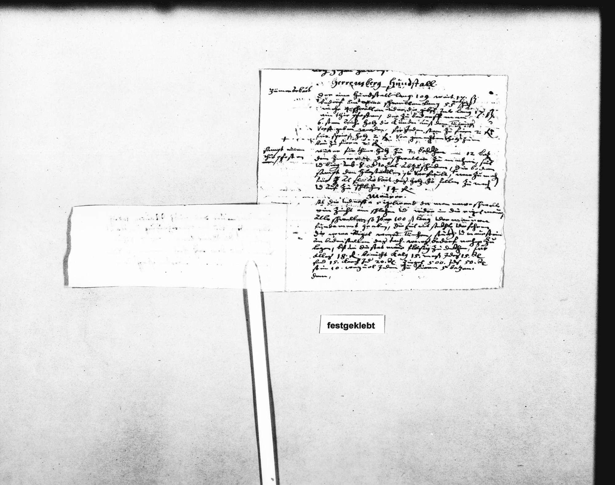 Gutachten und Kostenvoranschlag für die Erneuerung der beiden Hundezwinger am Schloss, 23. August 1633 (Quart); Notizen (Quart) mit aufgeklebtem Zettel zur Mauer im Garten des Pfarrhauses, Bild 3